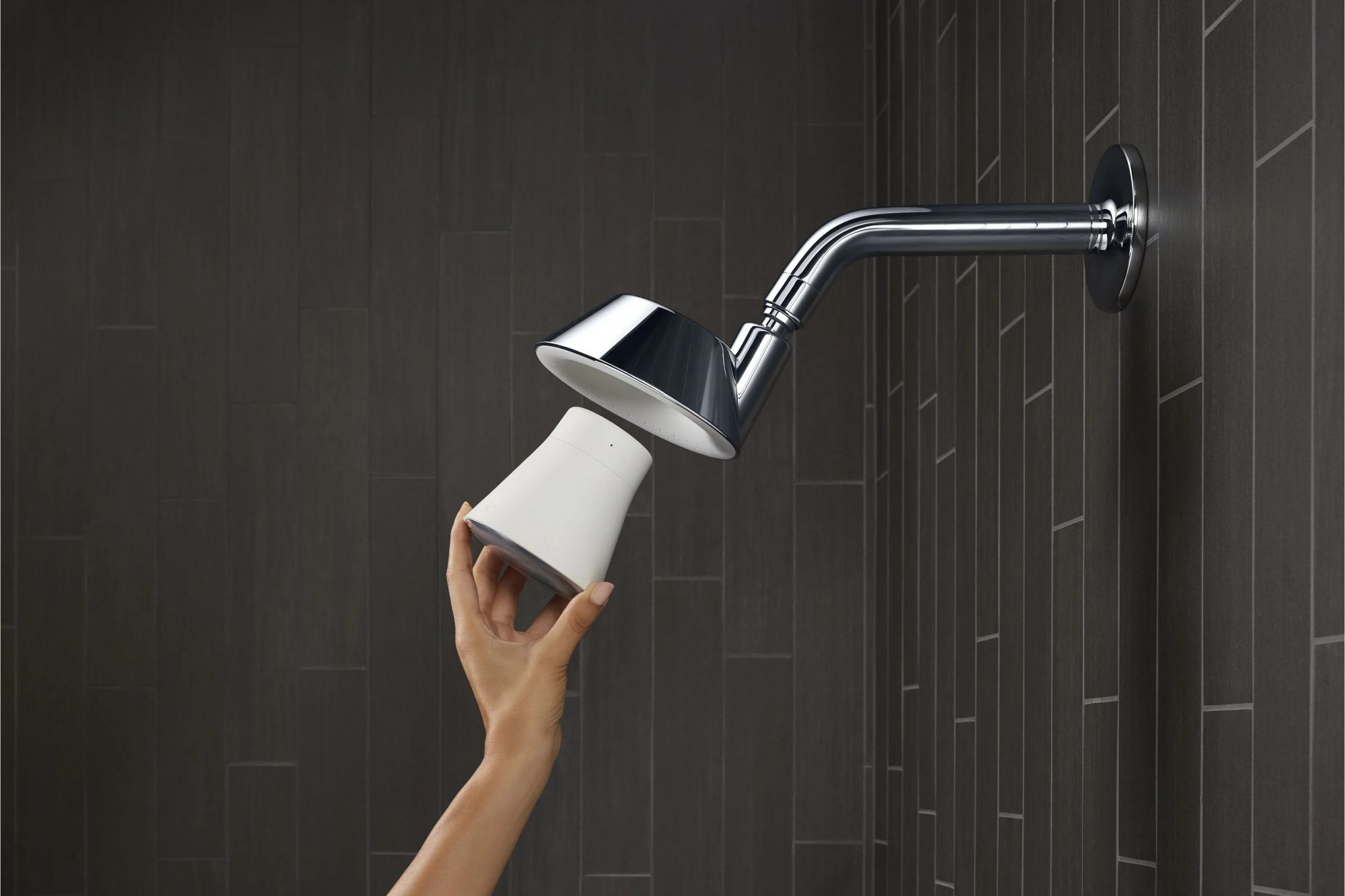 """Kohler Polished Chrome """"Moxie"""" Shower Head with Waterproof Speaker and Bluetooth Wireless Technology"""