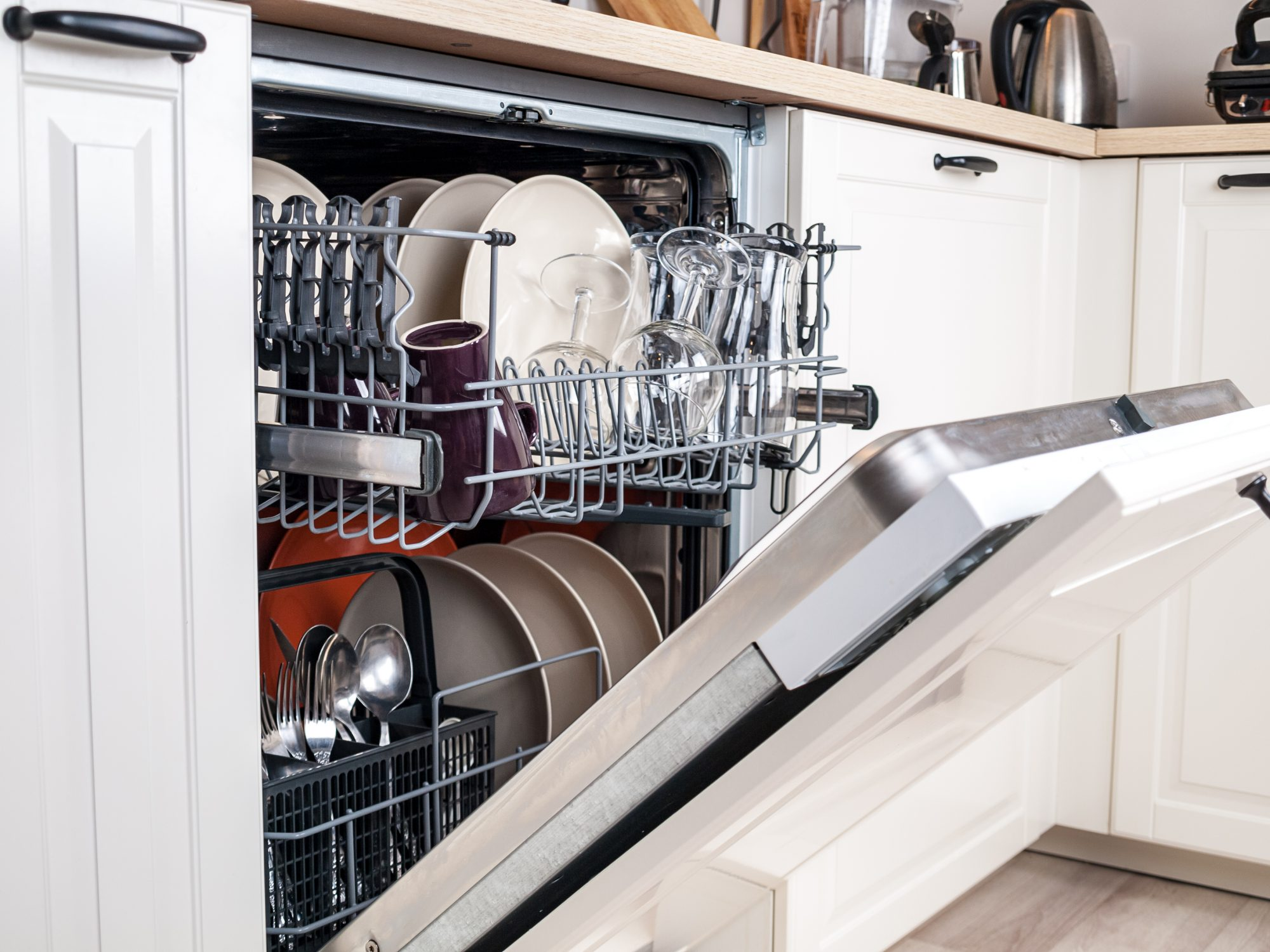 open dishwasher clean dishes