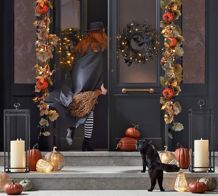 Pottery Barn Pre-Lit Black Glitter Branch Wreath and Garland with Bats
