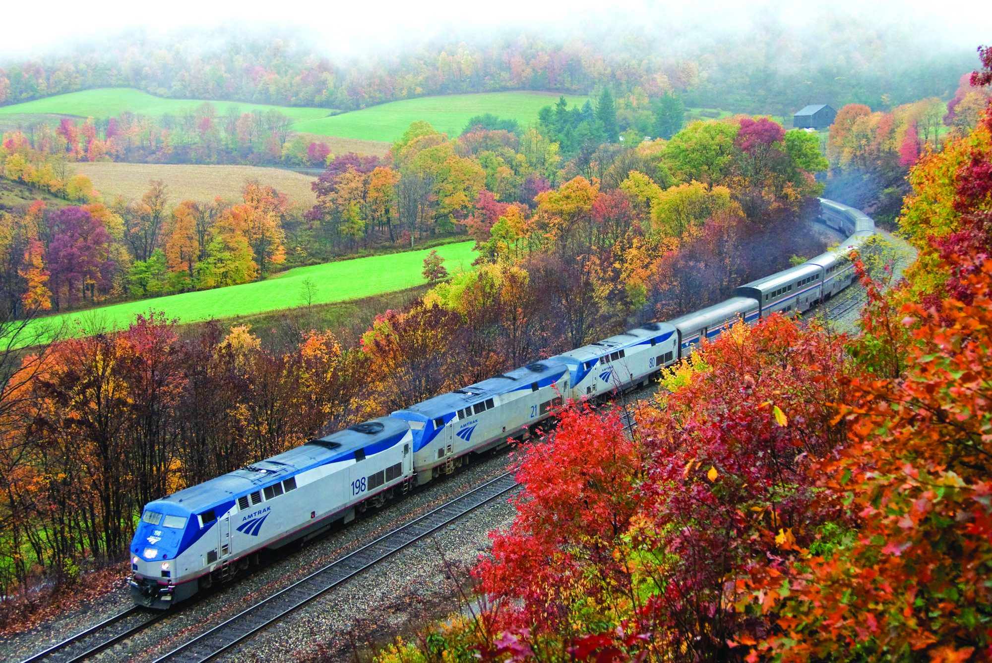 fall view of amtrak capital limited train