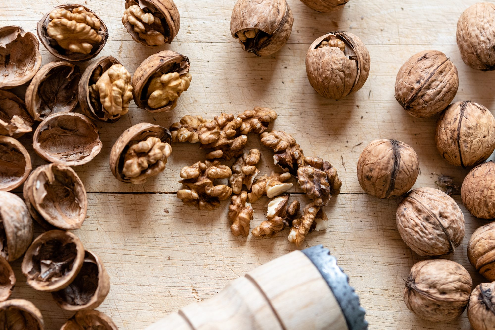 overhead view walnuts on wood table