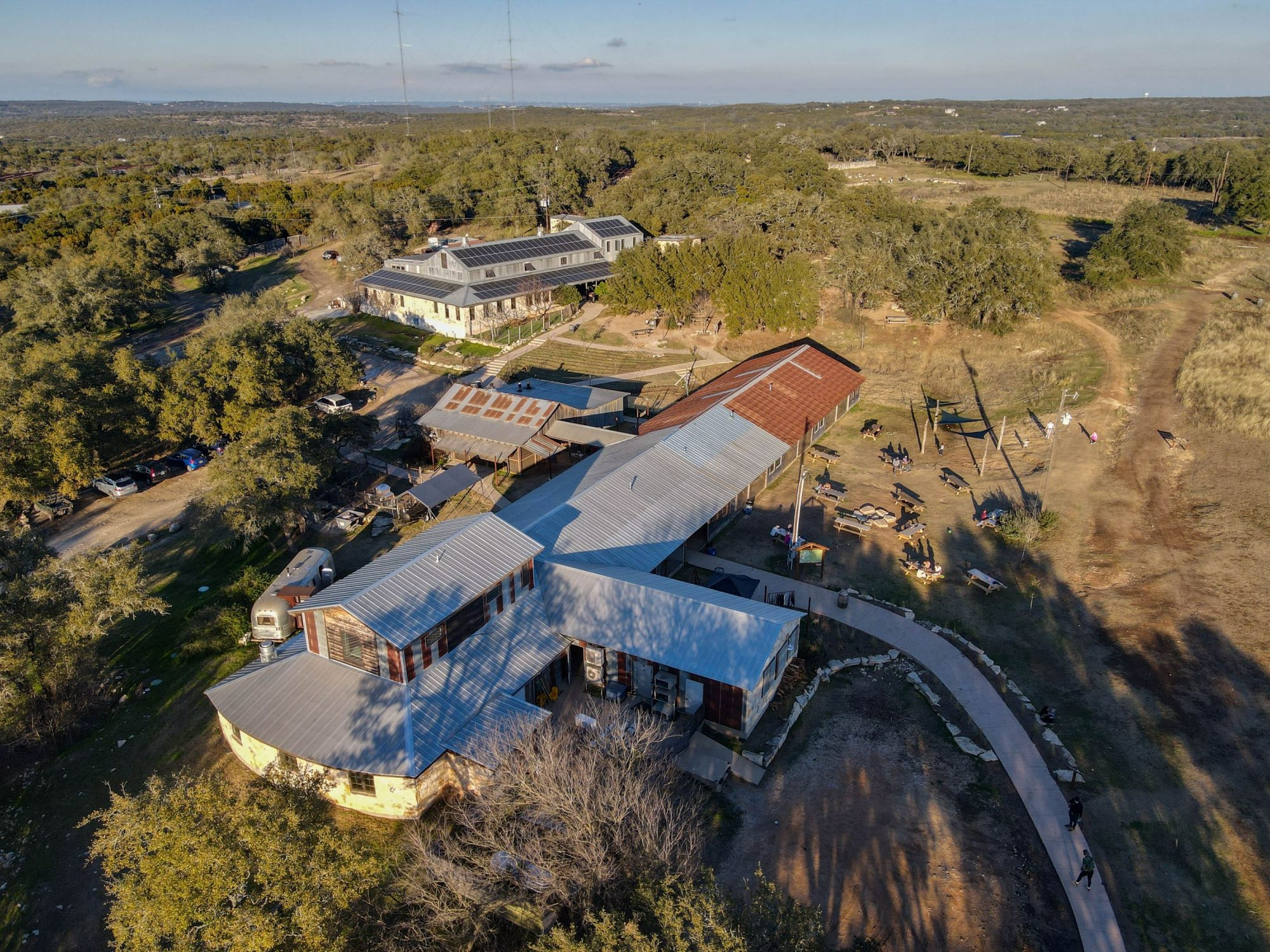arial drone image jester king brewery