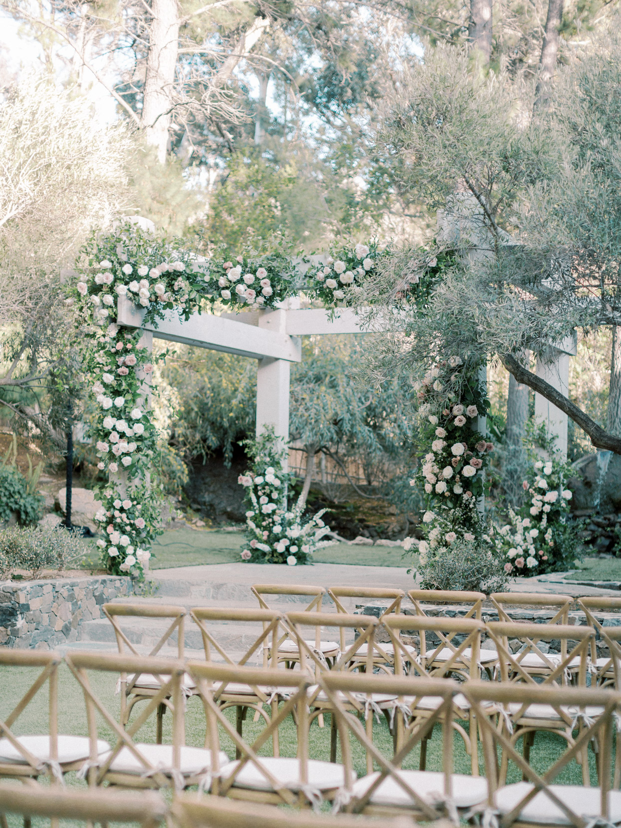 ceremony altar with floral accents