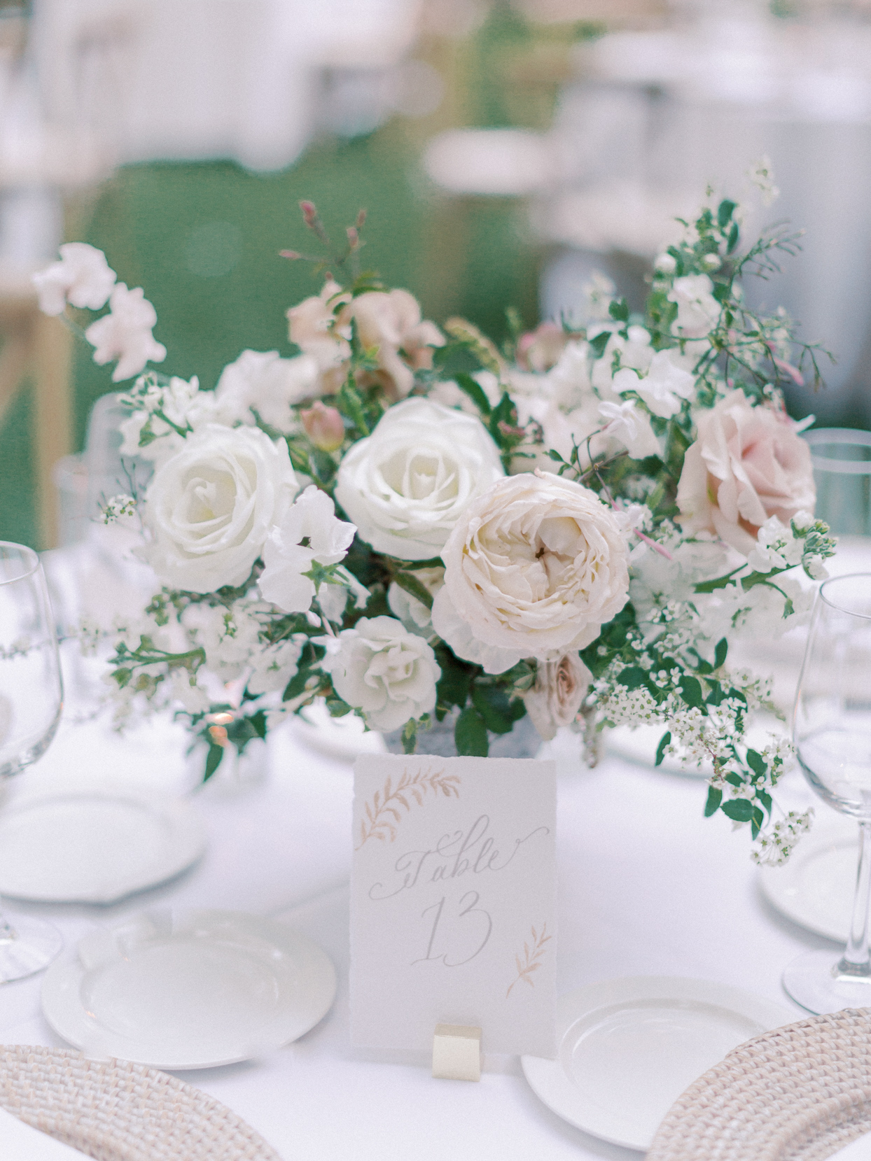 table card and flower centerpiece