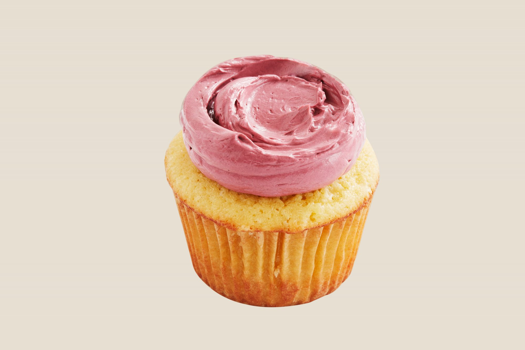 pink frosting dollop piping cupcake