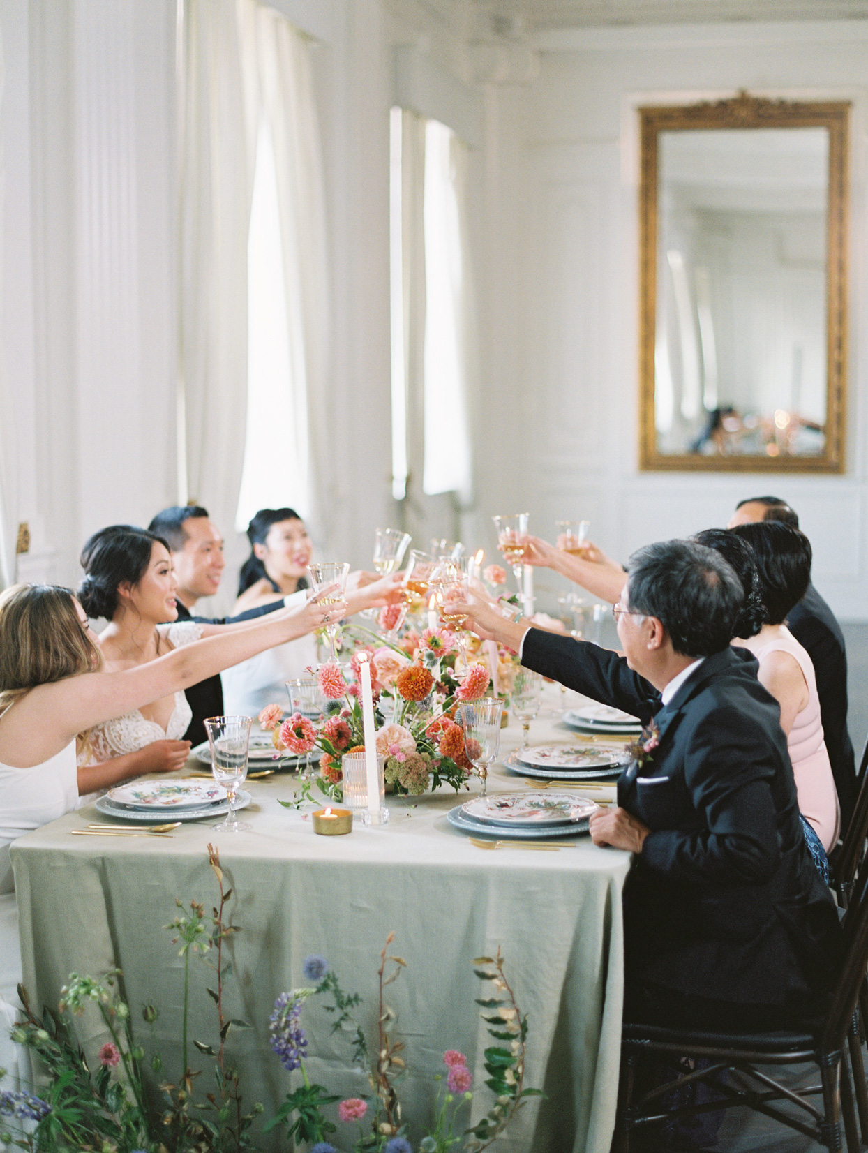 family toast at dinner