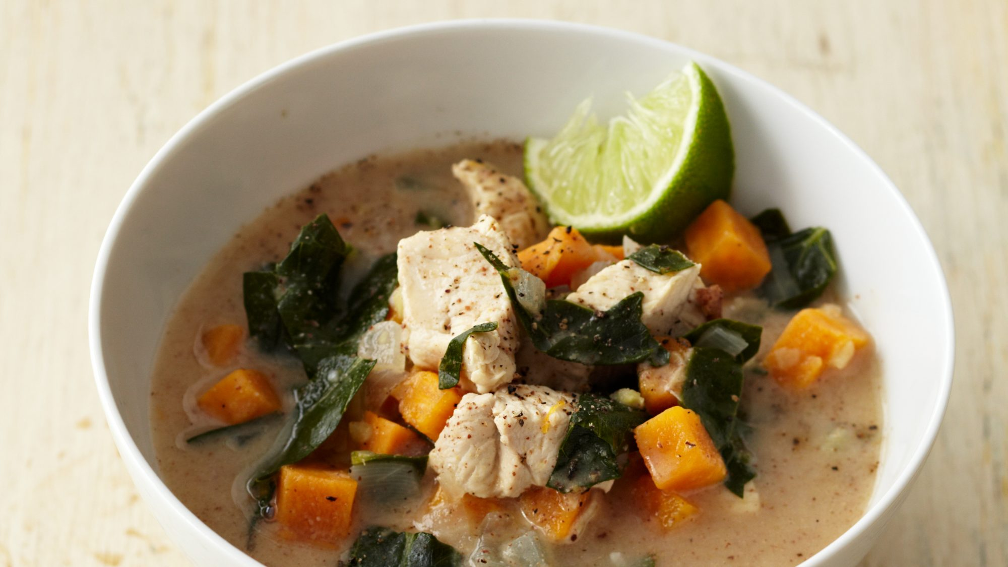 EXPLORE Martha Stewart Profile Menu Martha's Blog Your Account Login SUBSCRIBE MARTHASTEWART.COM FOOD & COOKING RECIPES SOUPS, STEWS & STOCKS SOUP RECIPES Almond Chicken Soup with Sweet Potato, Collards, and Ginger Almond Chicken Soup with Sweet Potato, Collards, and Ginger