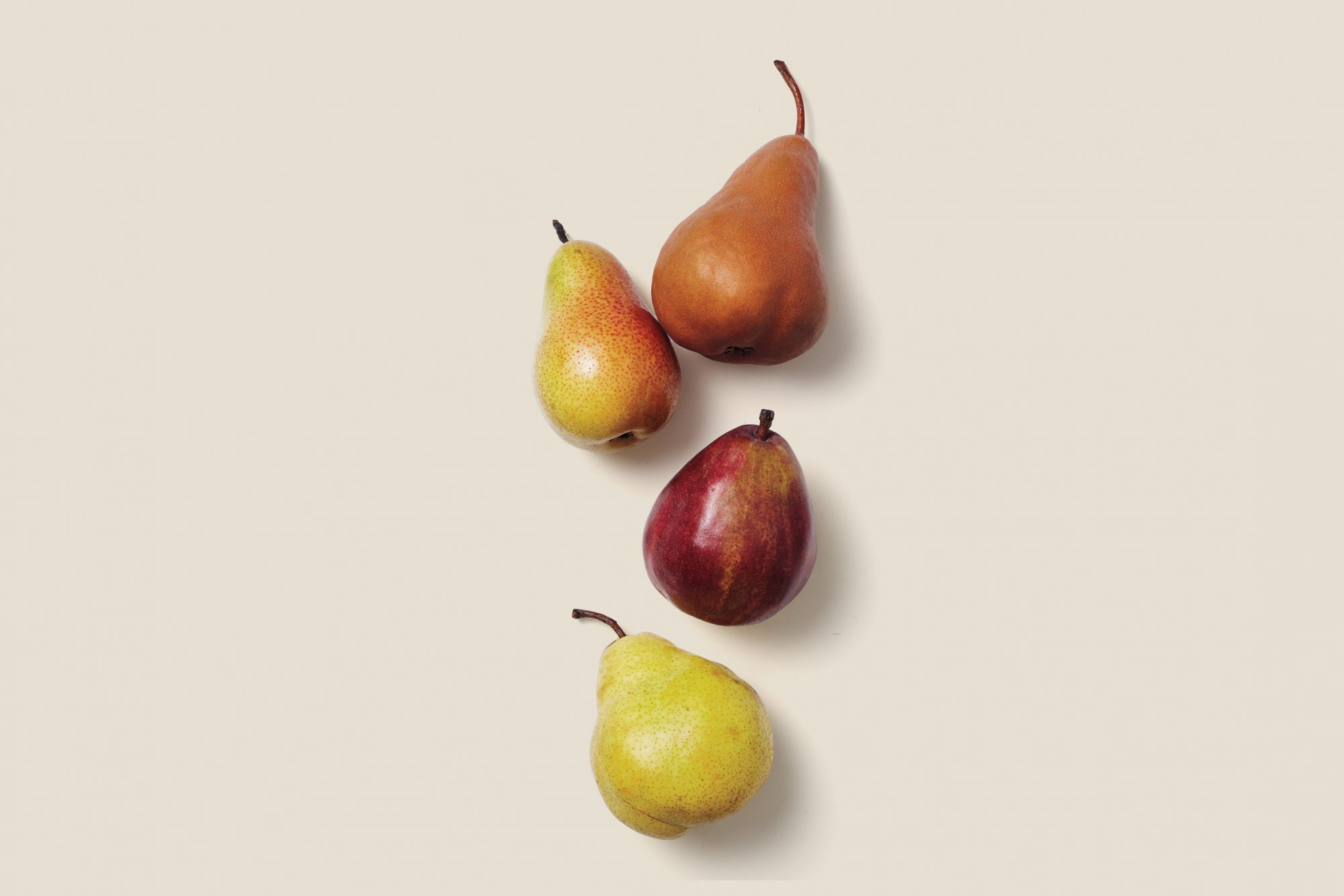 variety of pears on surface
