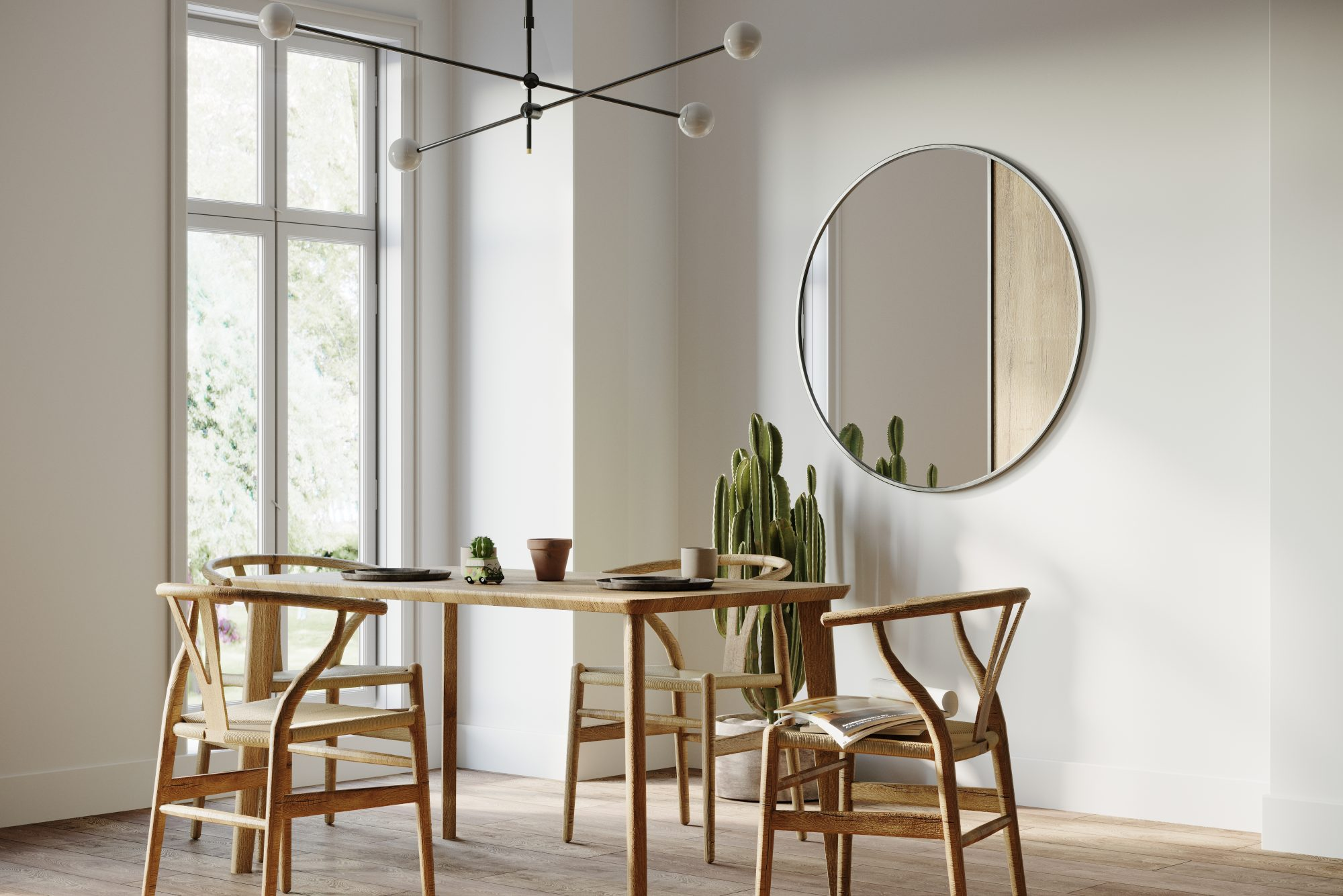 modern dining room with round mirror on wall