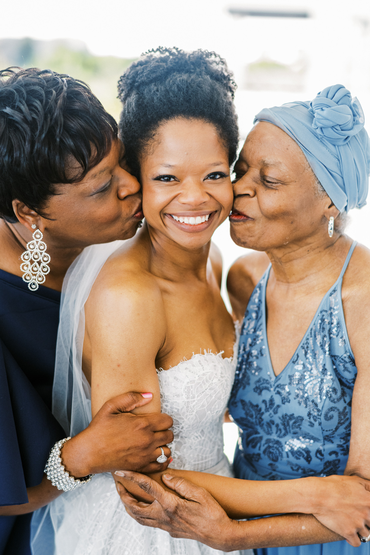 bride, mother, and grandmother portrait