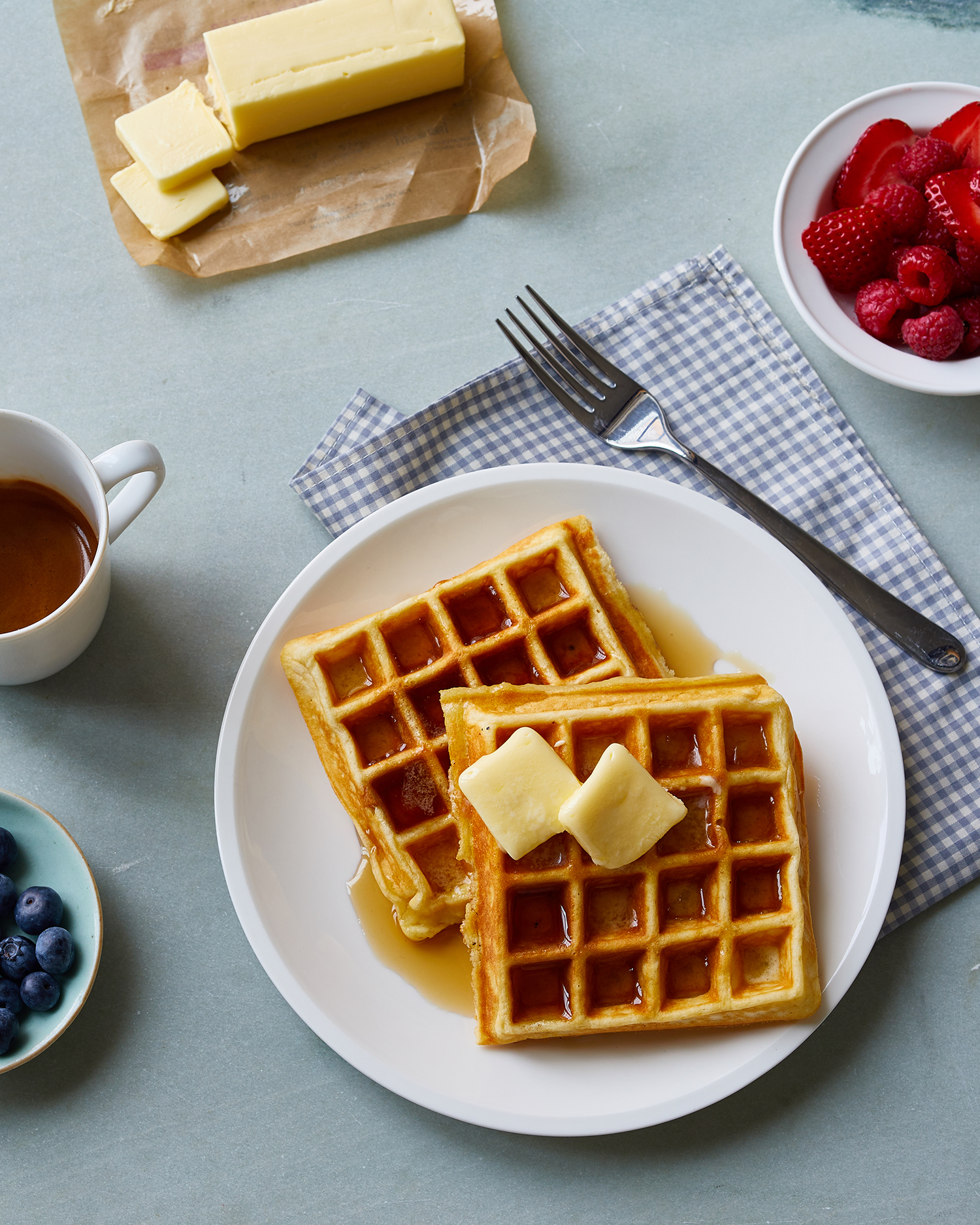 easy waffles with butter