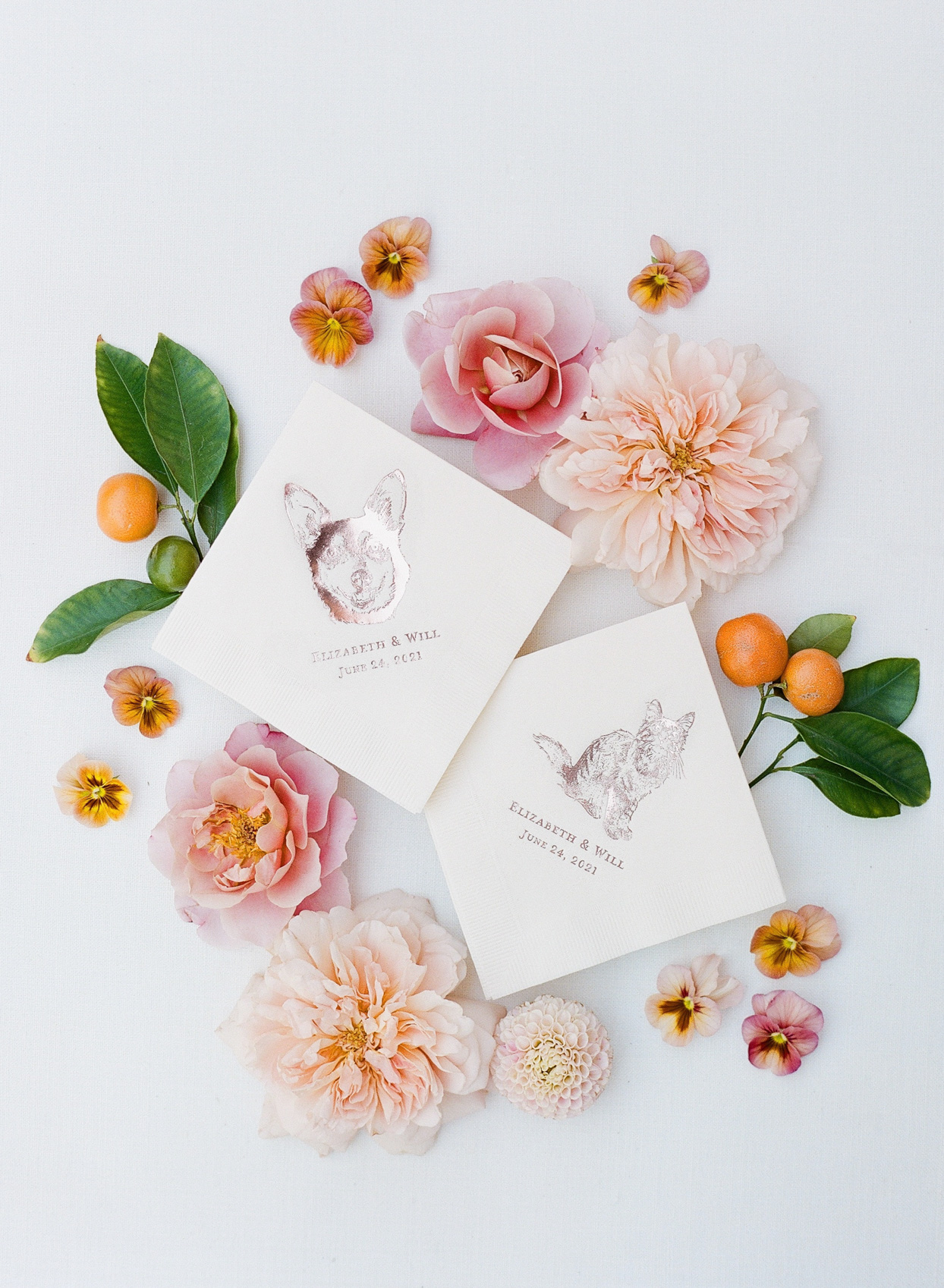 personalized wedding napkins with flowers