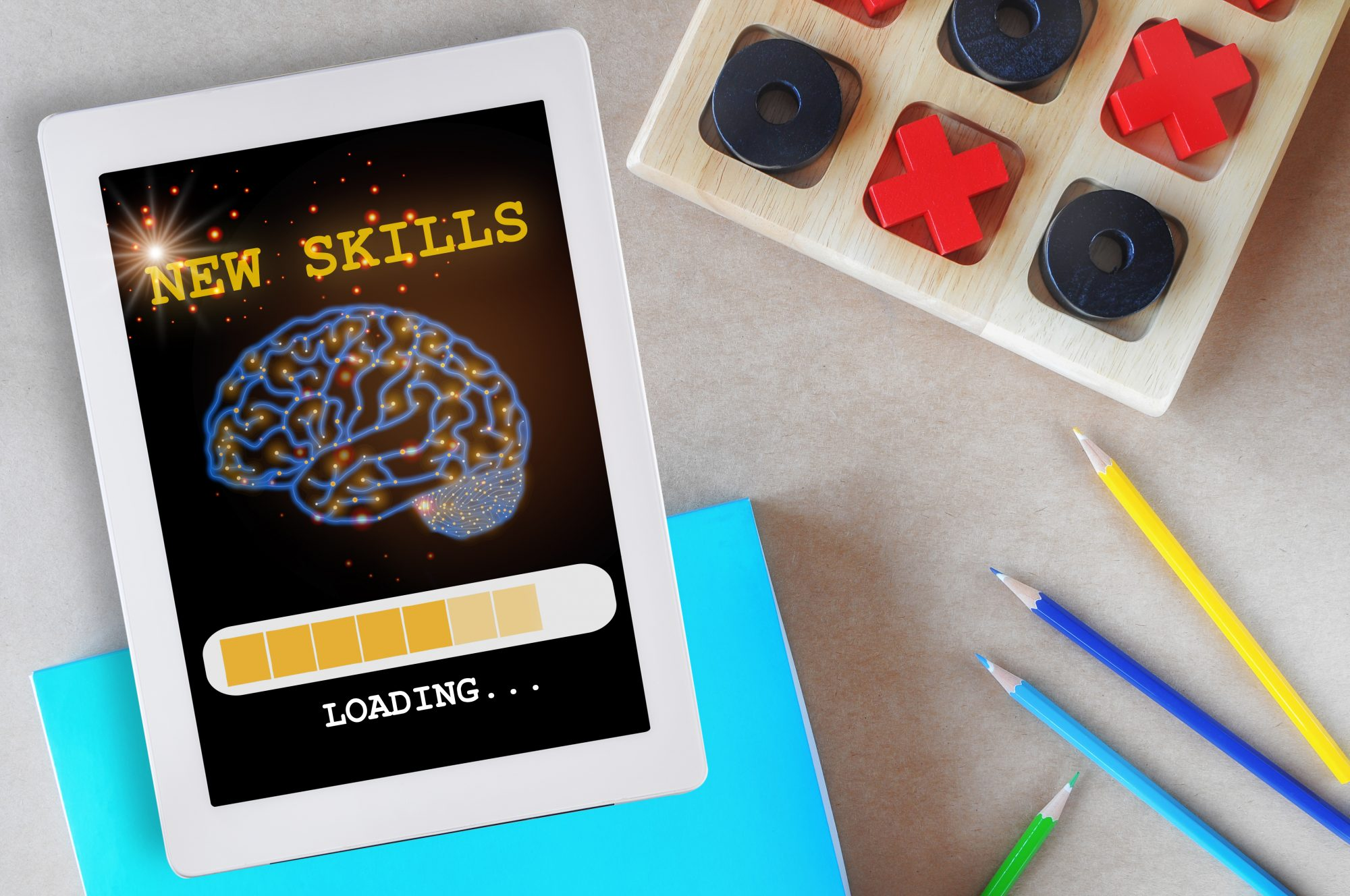 memory test brain game on tablet