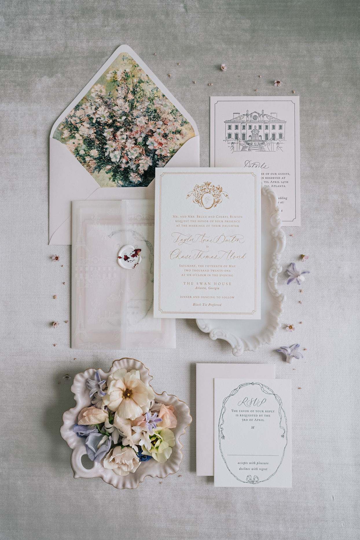custom wedding invitation stationery suite with a vellum wrap and wax seal