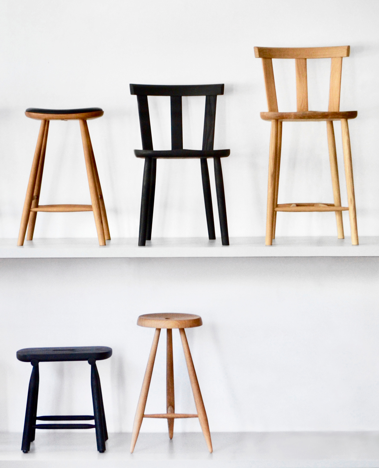handmade wooden stools and chairs