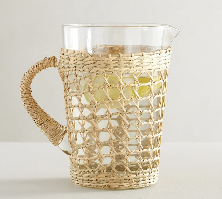 Pottery Barn Cane Recycled Glass Pitcher