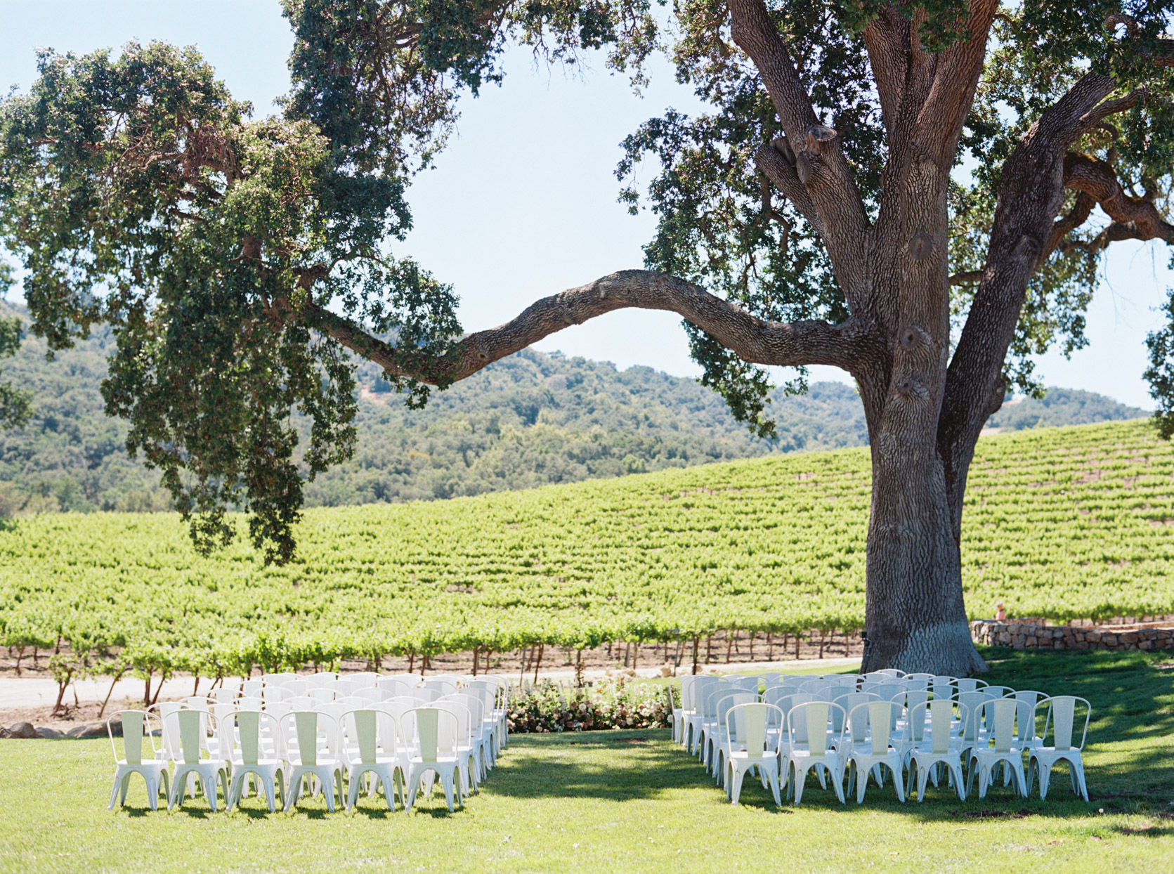 white chairs set up for outdoor wedding ceremony