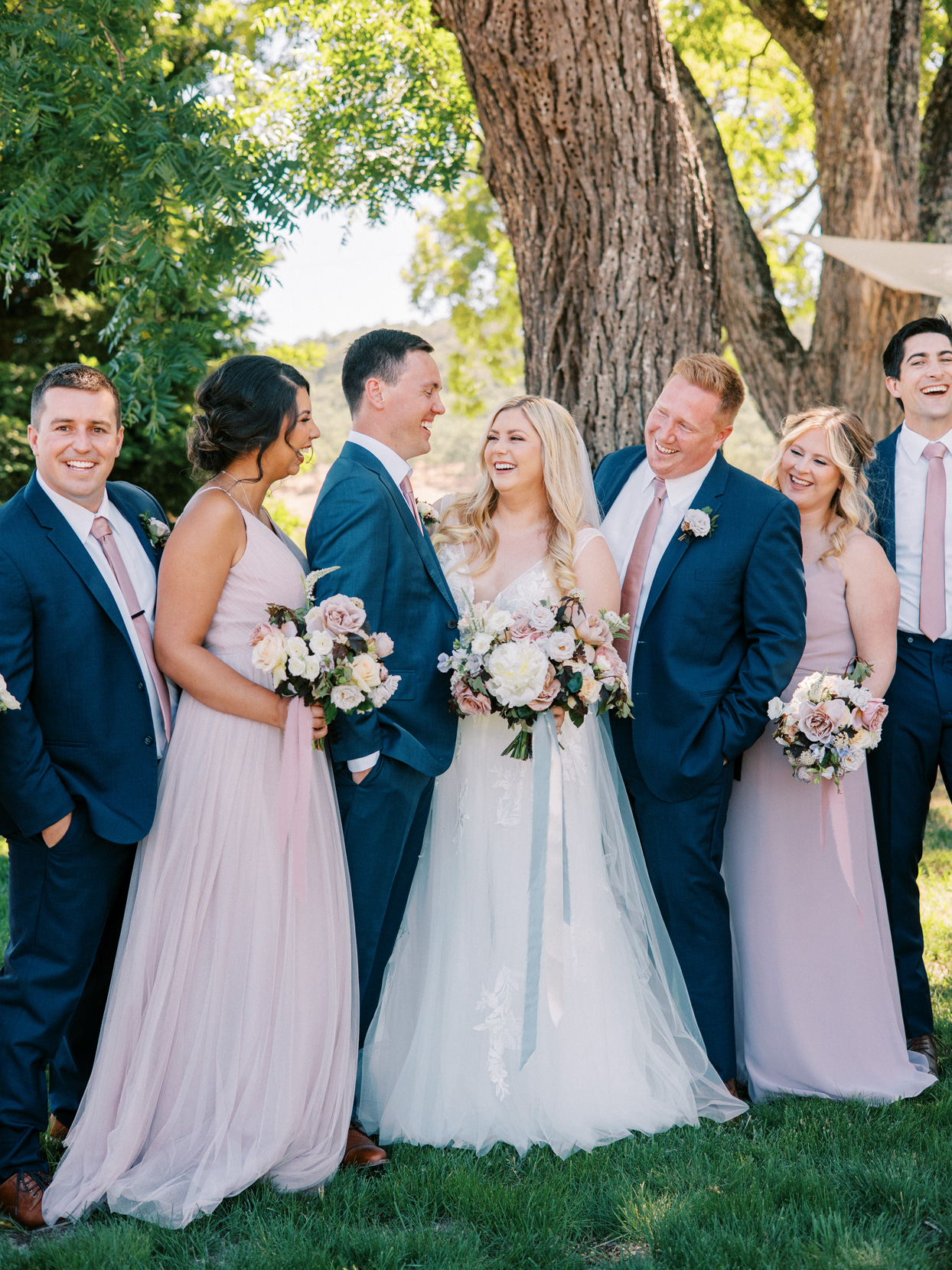 wedding party in blue and lavender