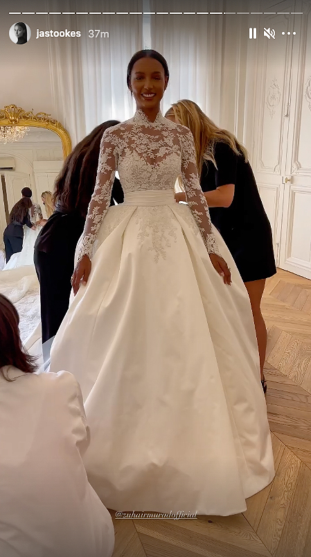 Jasmine Tookes lace wedding gown front