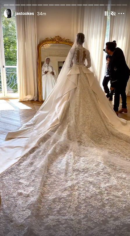 Jasmine Tookes lace wedding gown train