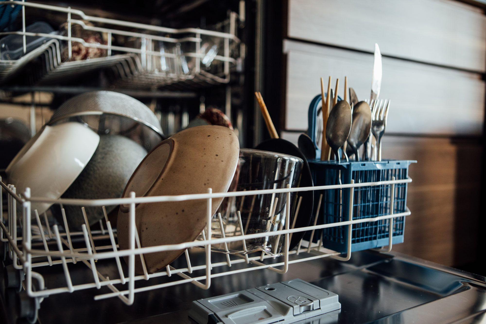 Bowls And Utensils In The Dishwasher