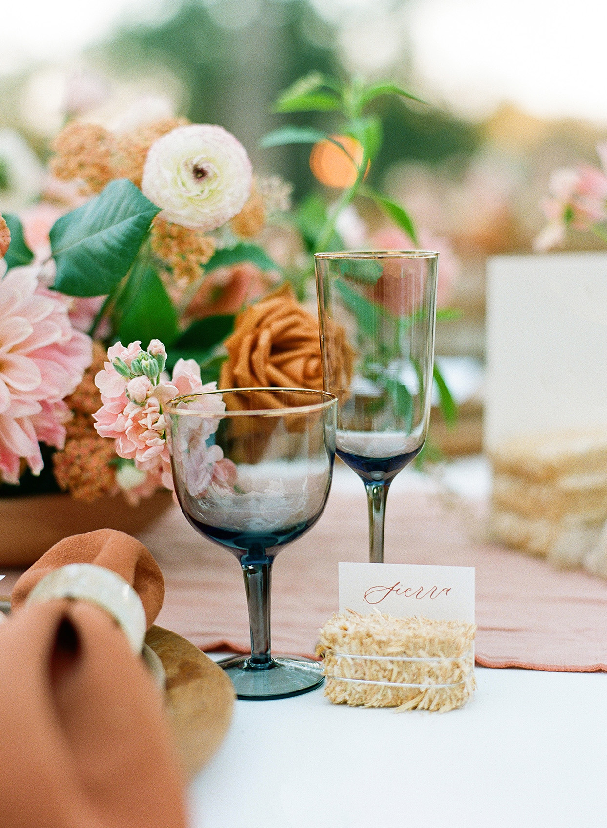 Molly & Garrett Real Wedding Reception Seating Cards and Glasses