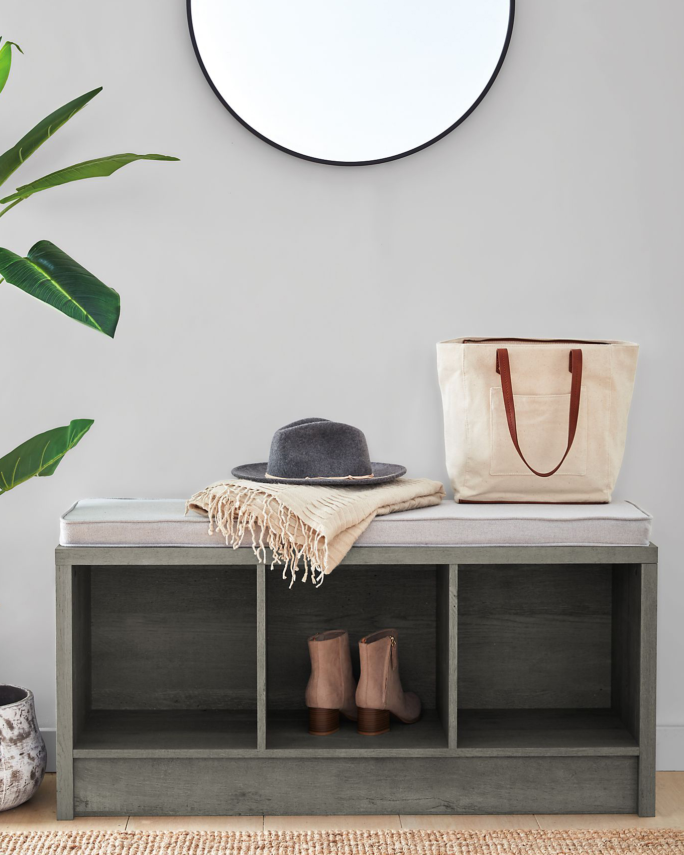 squared away 3 cube storage entryway bench