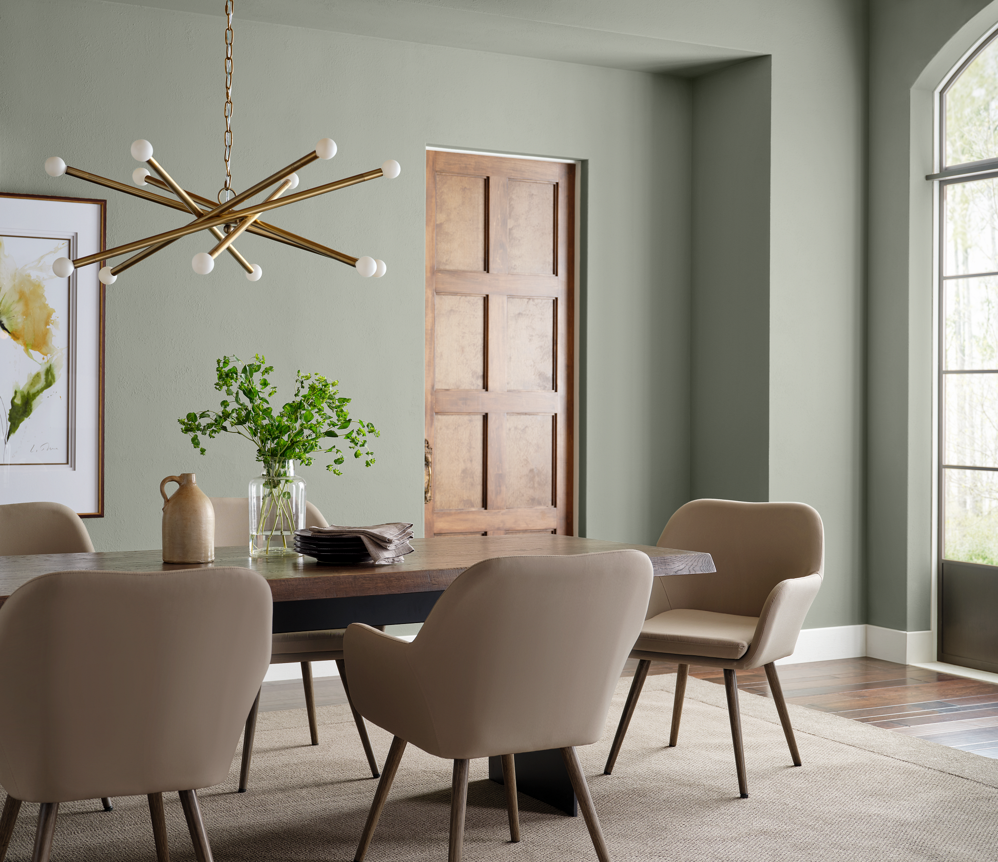 sherwin williams color of the year evergreen fog dining room
