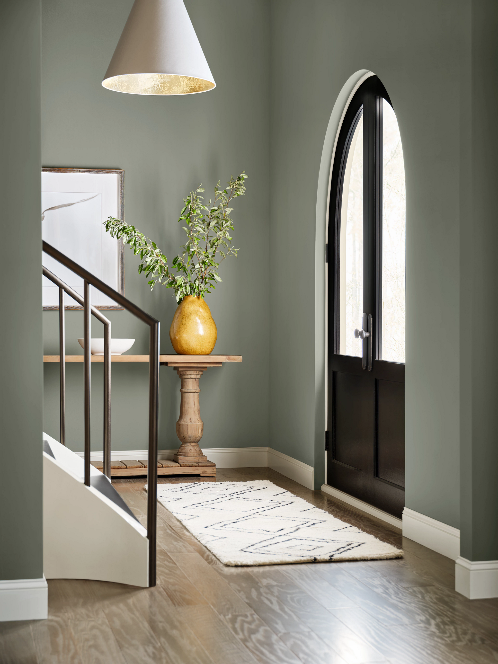 sherwin-williams color of the year evergreen fog entryway