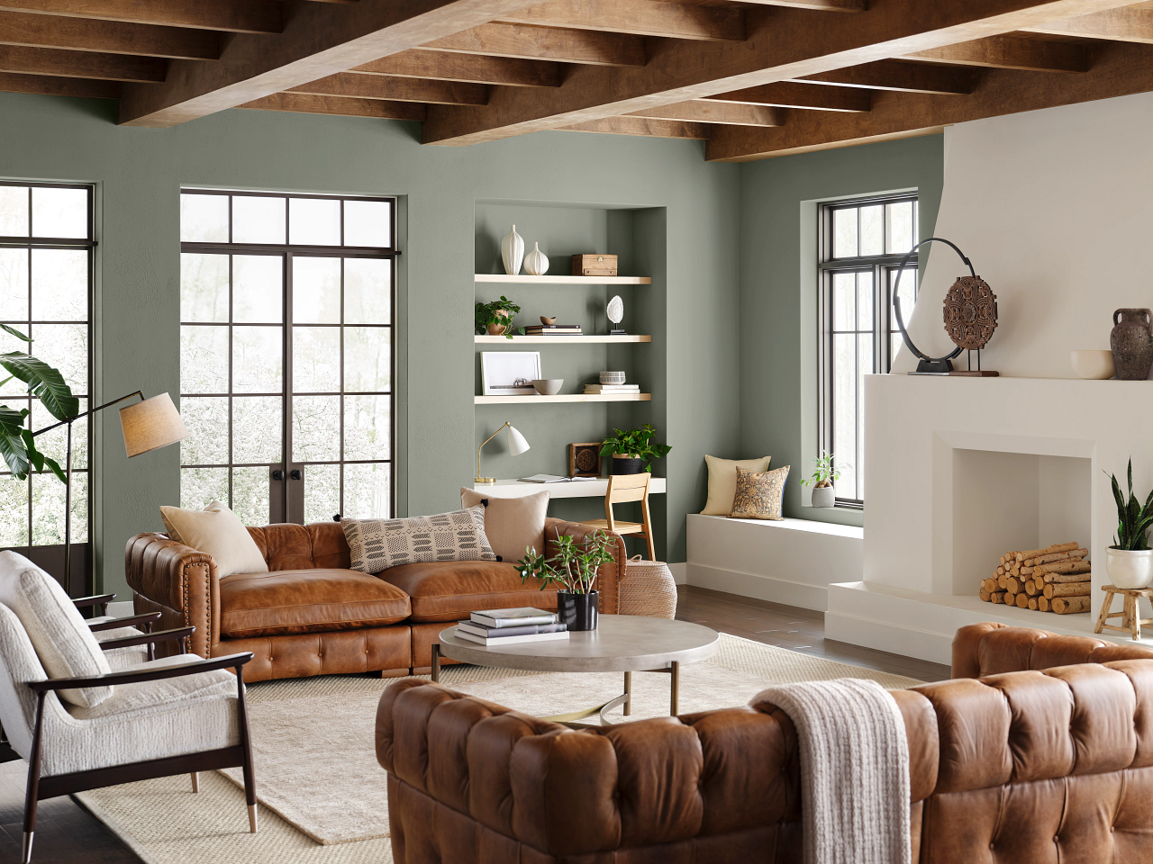 sherwin williams color of the year evergreen fog living room