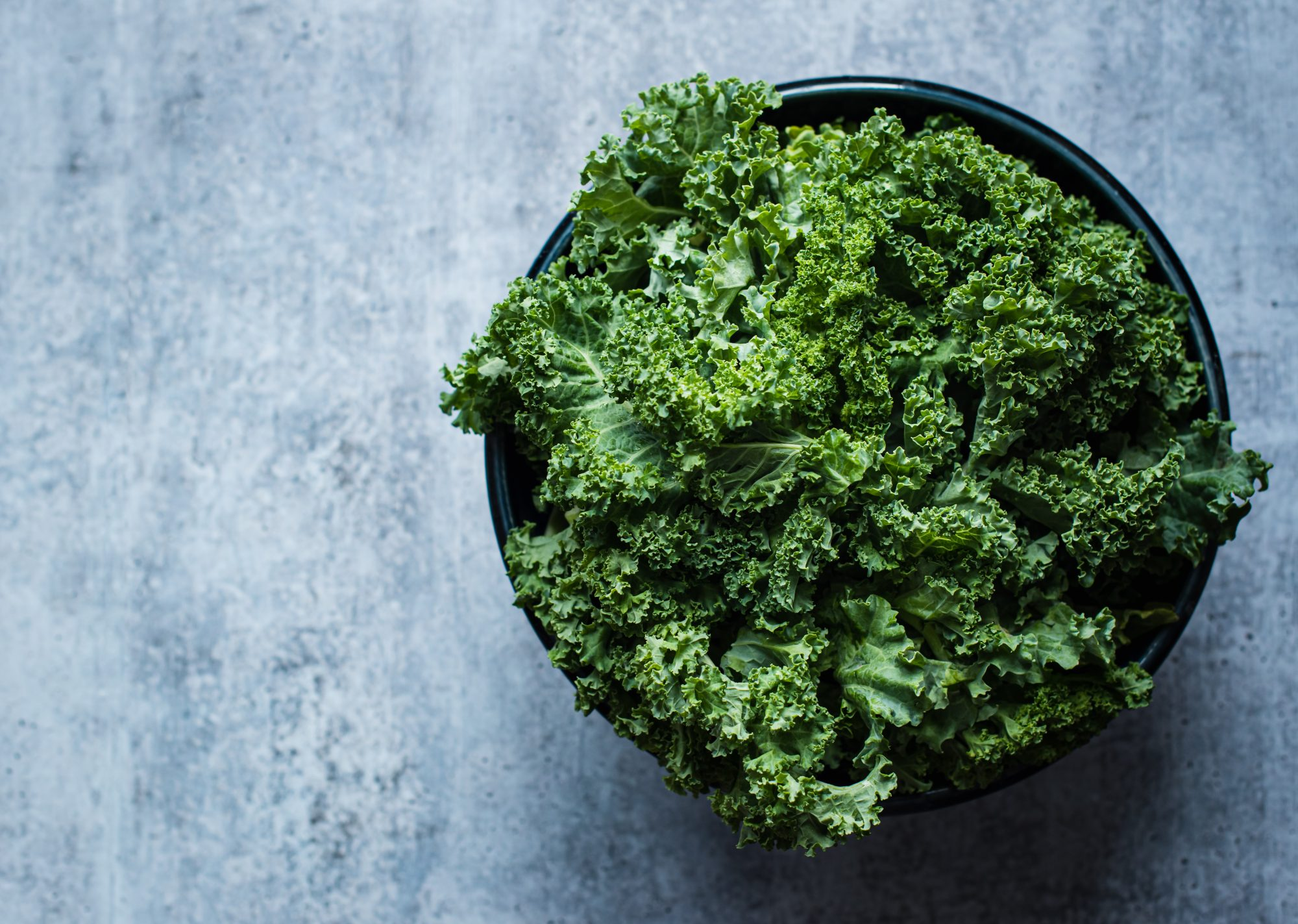bowl of kale on counter