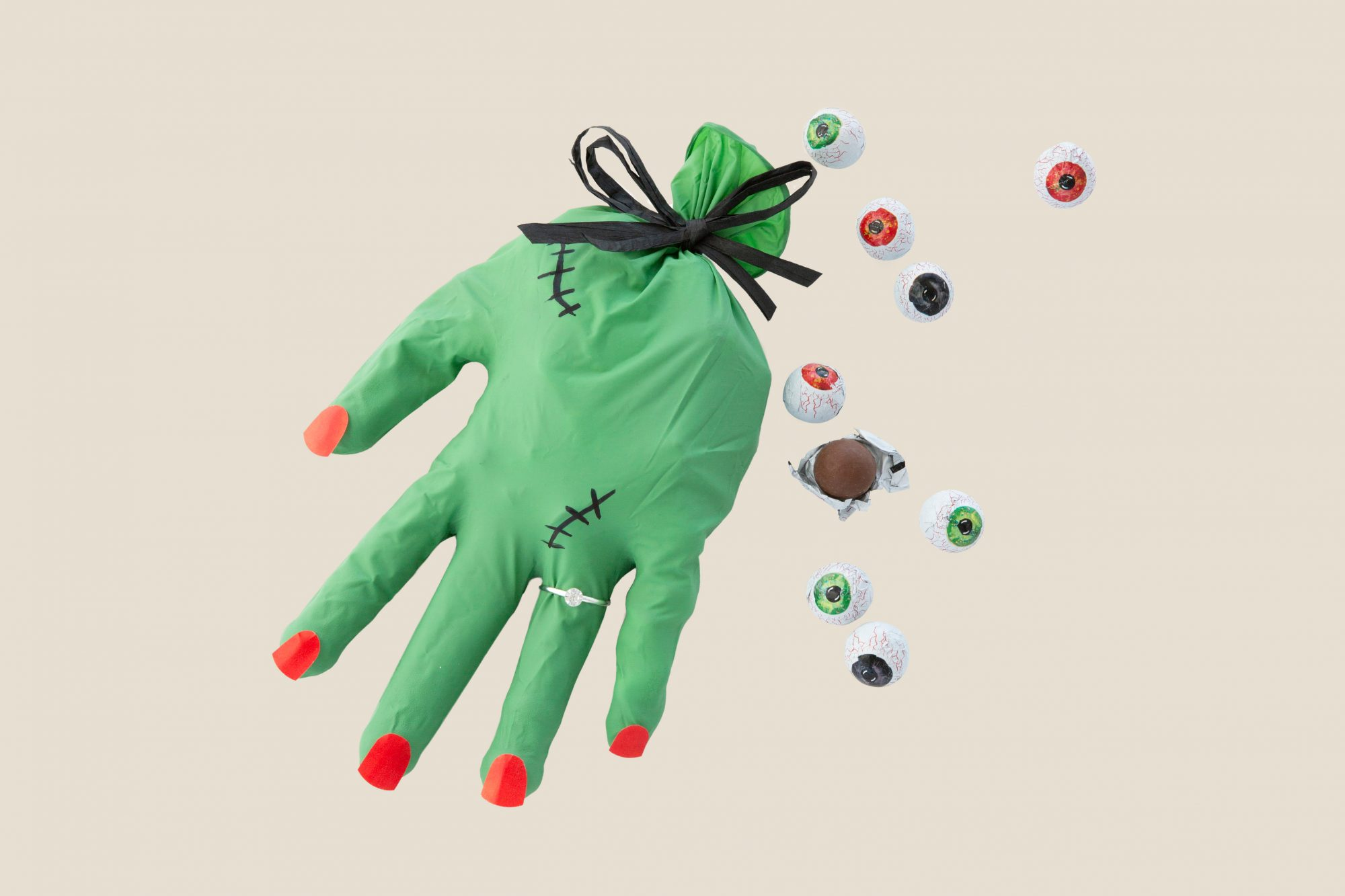 candy filled spooky glove