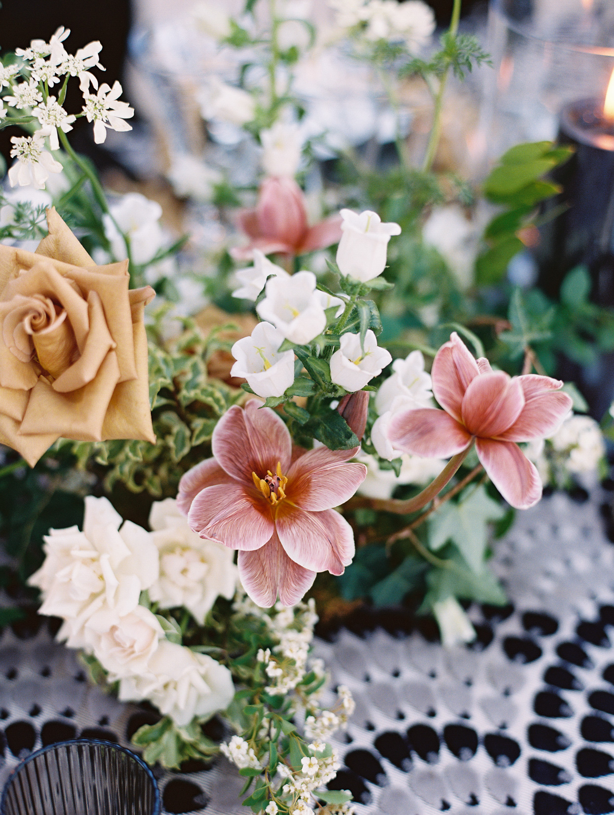 blush and white flowers