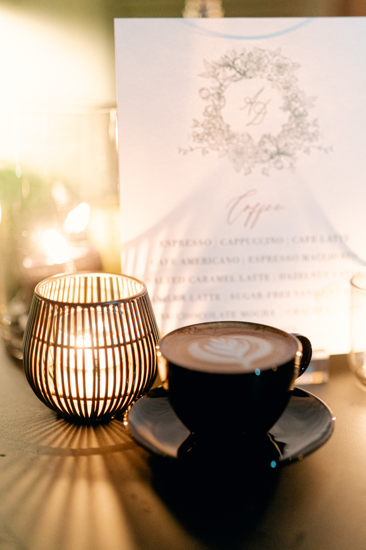 reception latte by candle