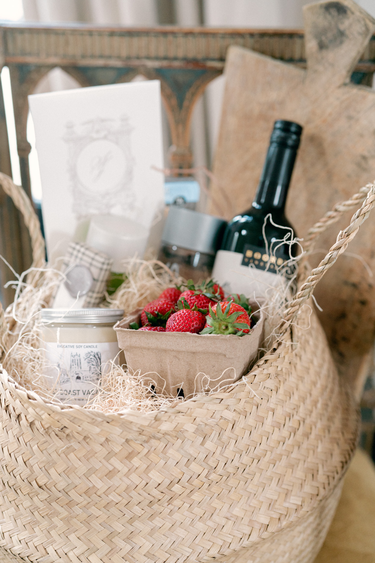 woven welcome baskets filled with various east coast themed treats