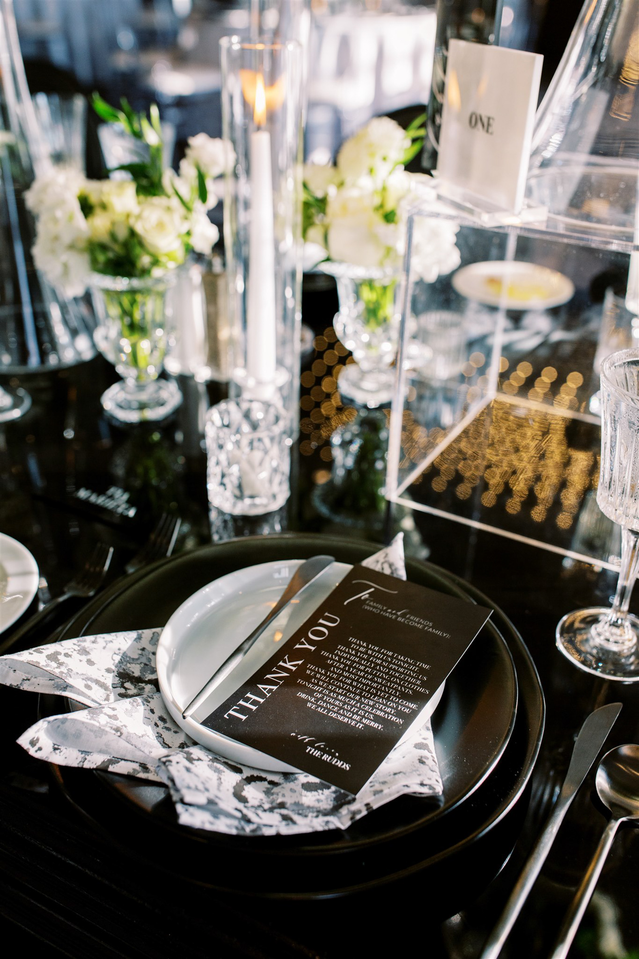 black and white reception place settings