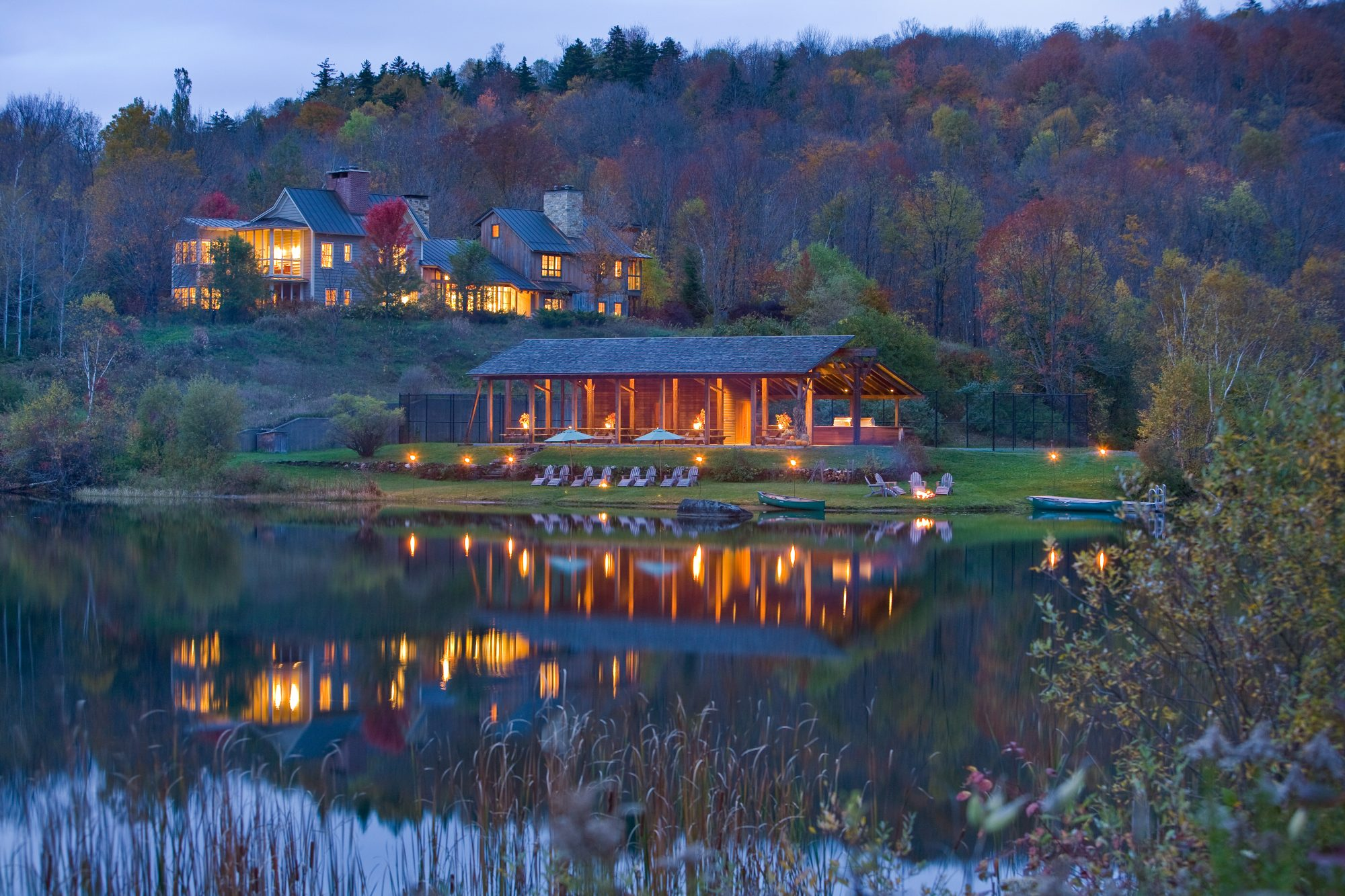 scenic dusk view of twin farms vermont
