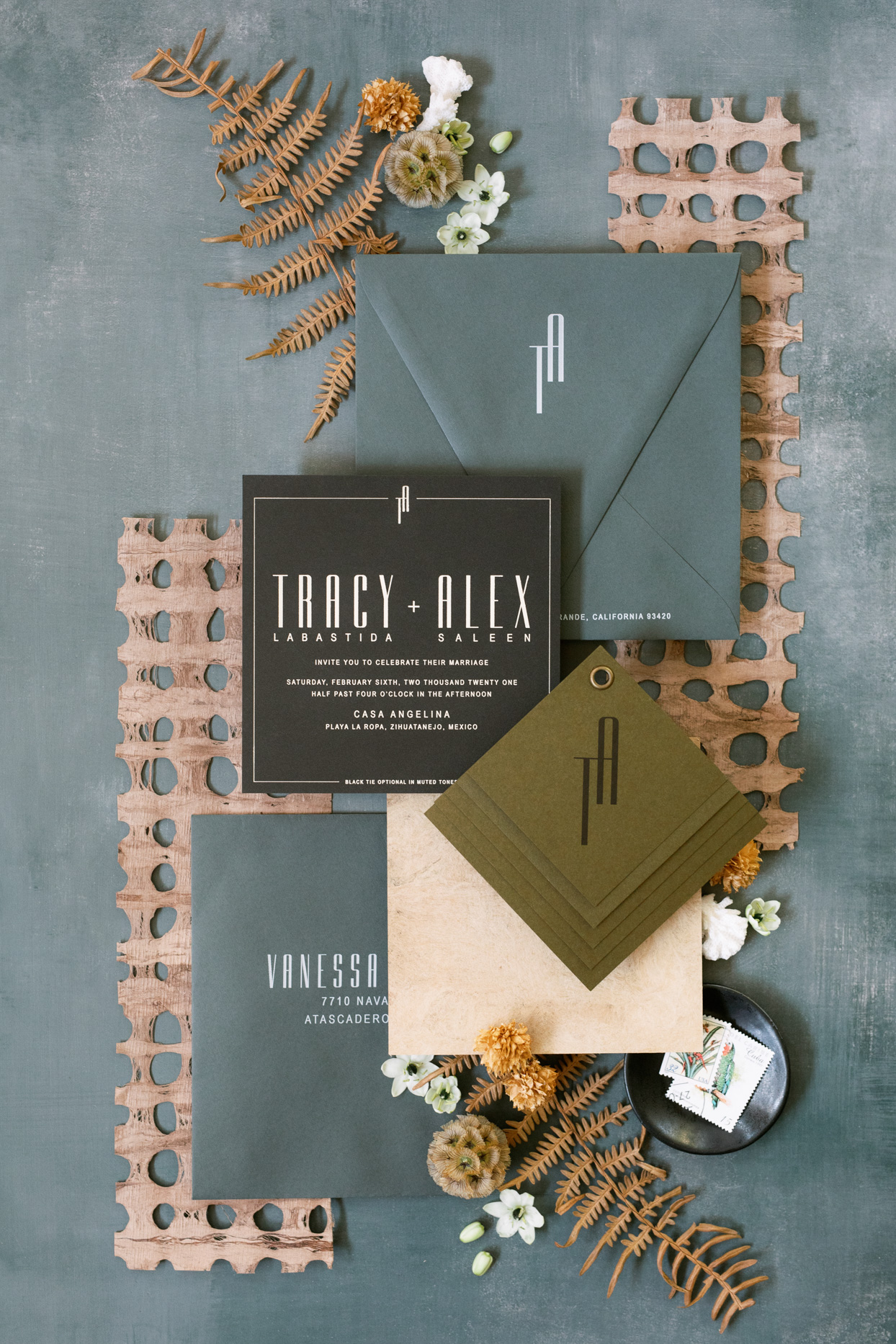 masculine green blue, and brown wedding invitations