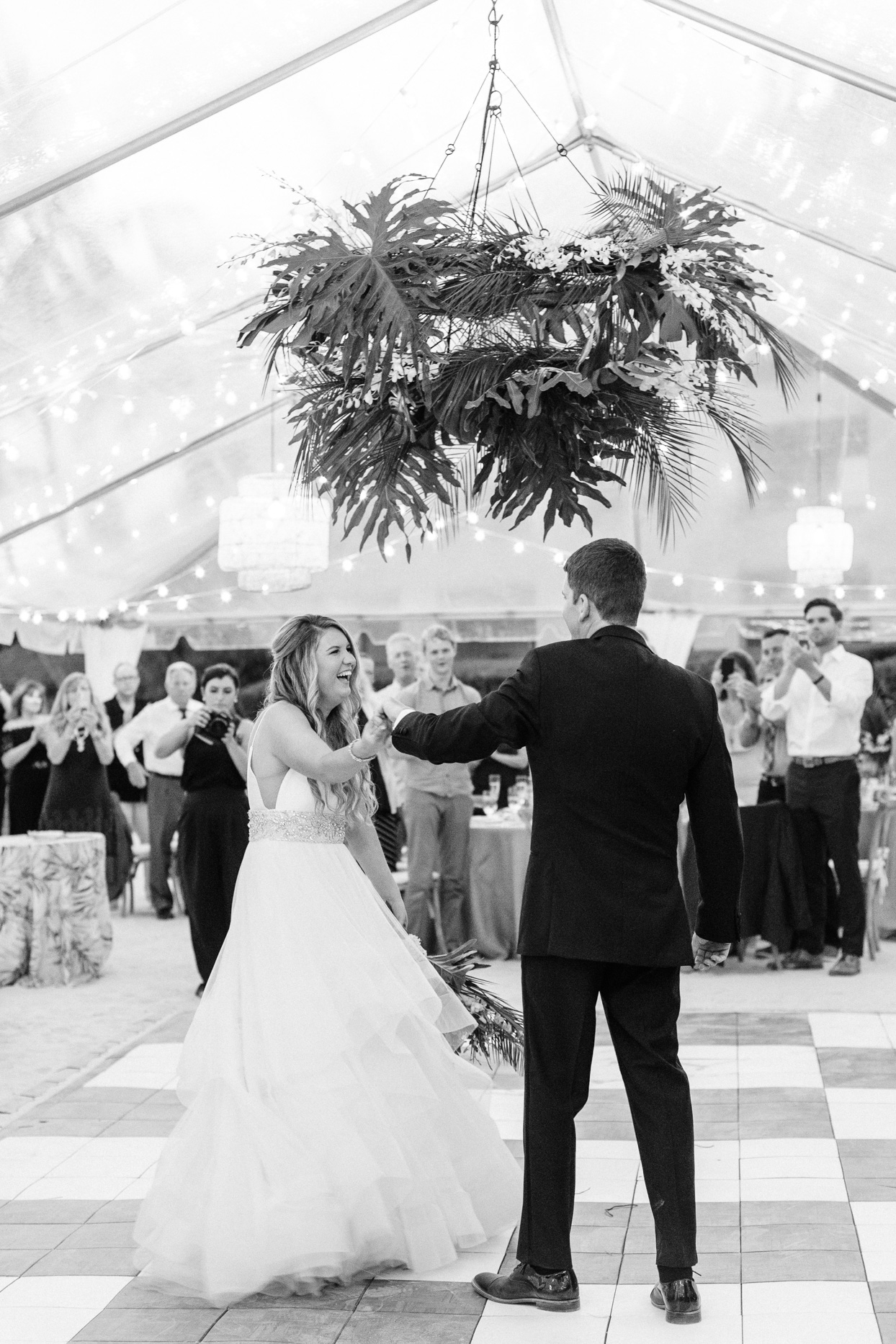 wedding first dance in tent
