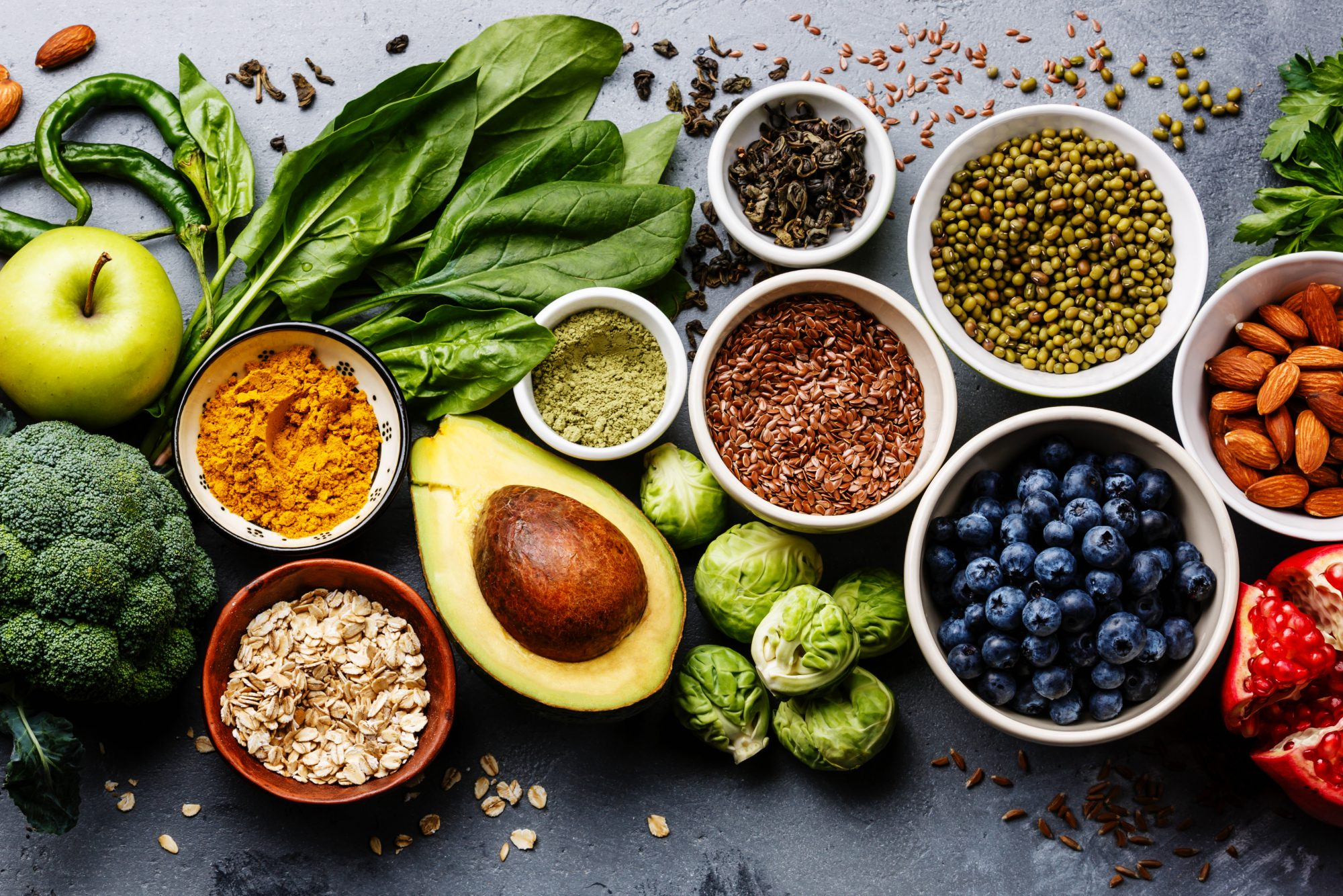 antioxidant rich healthy foods on slate surface