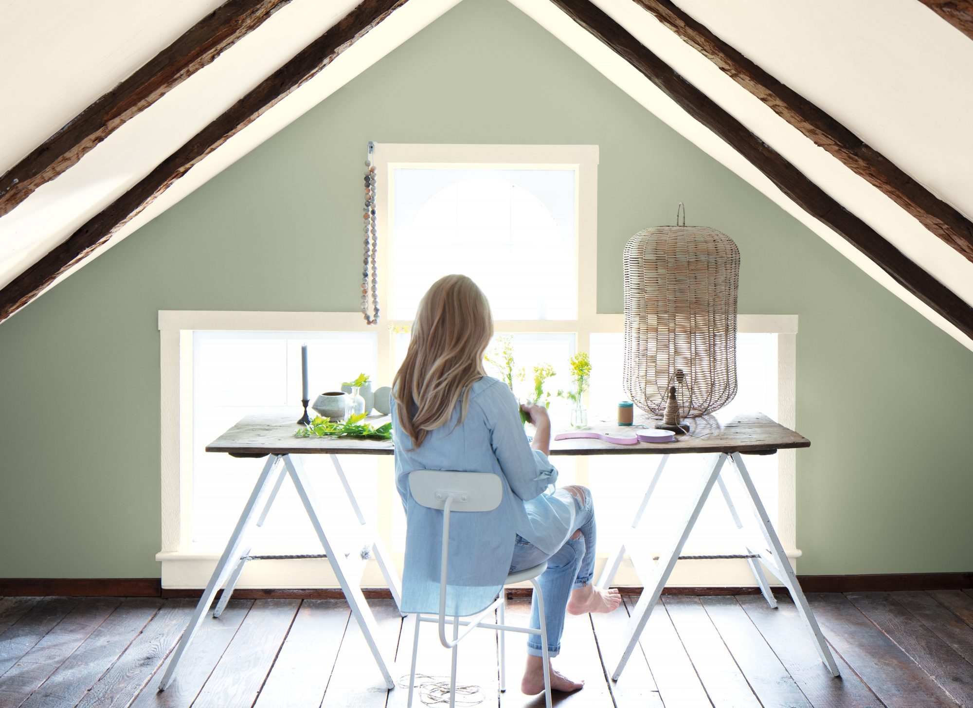 benjamin moore color of the year paint attic workspace