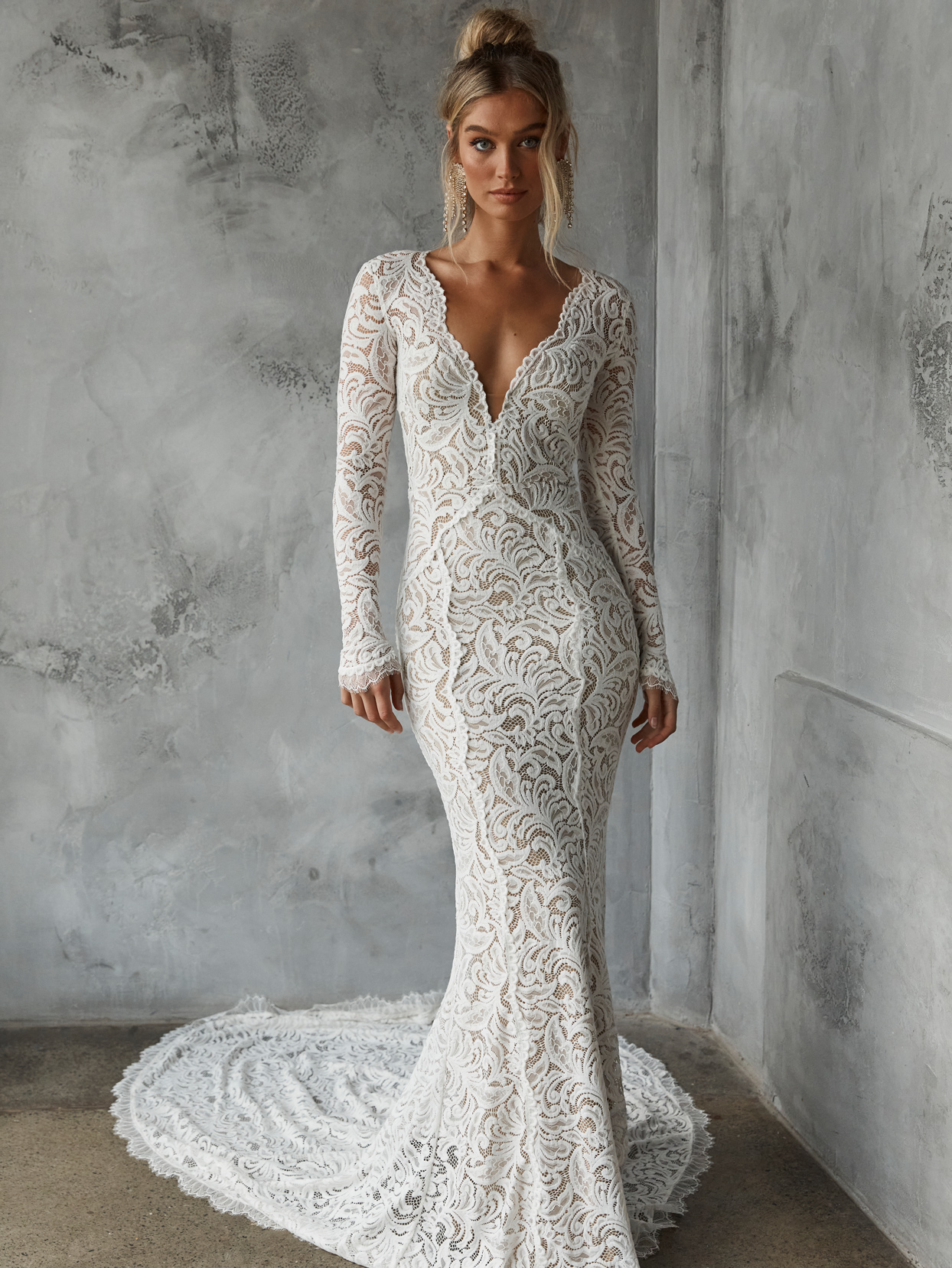 Grace Loves Lace lace long sleeve form fitting wedding dress fall 2022