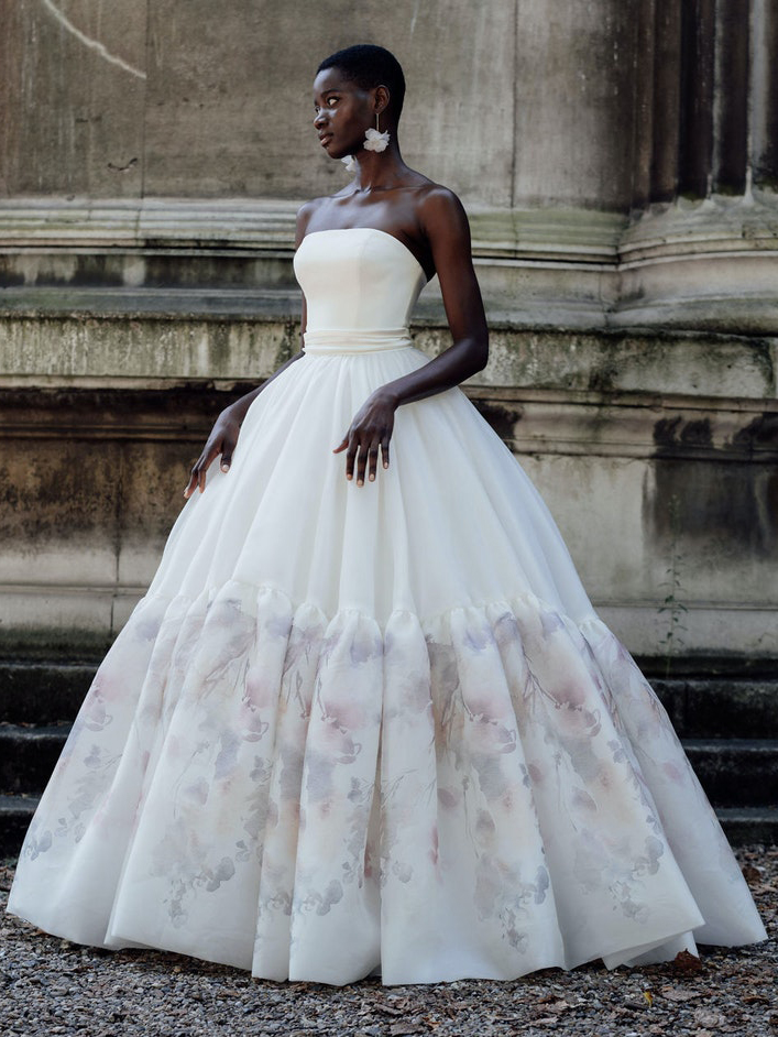 Halfpenny London ball gown watercolor floral skirt wedding dress fall 2022