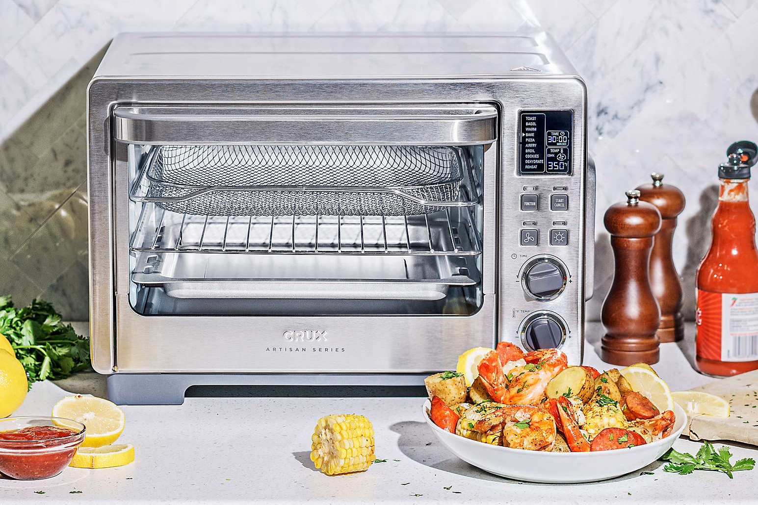 CRUX Artisan Series Six Slice Digital Air Frying Toaster Oven