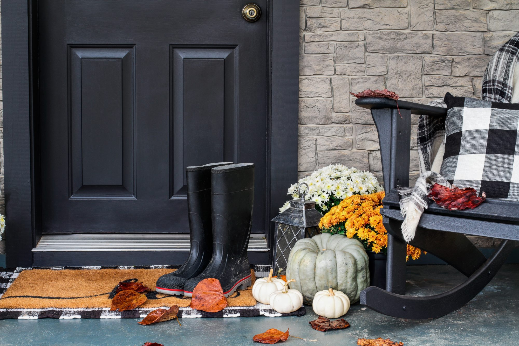 Front Porch Decorated for Autumn with Buffalo Plaid