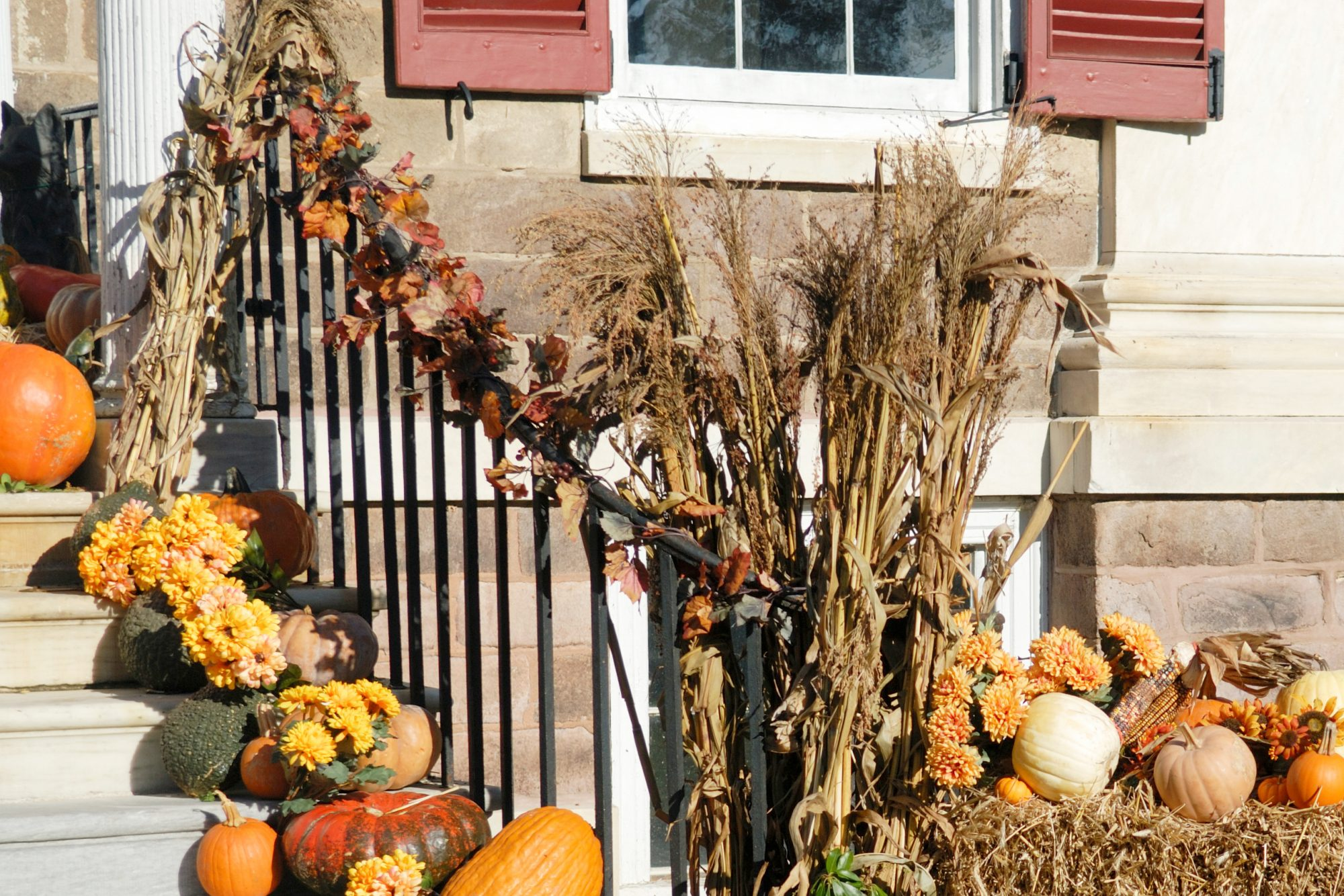 beautiful fall porch bannister decorations