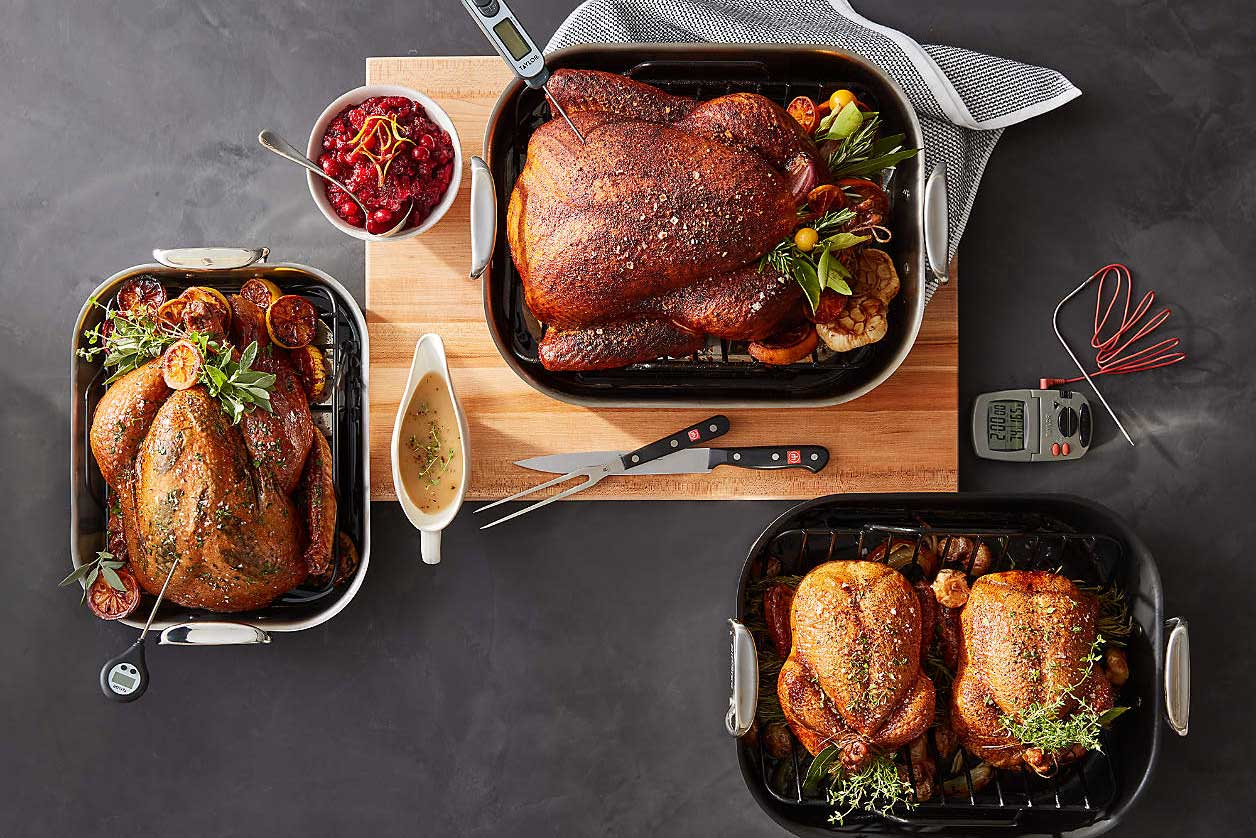 assortment of all-clad roasting pans
