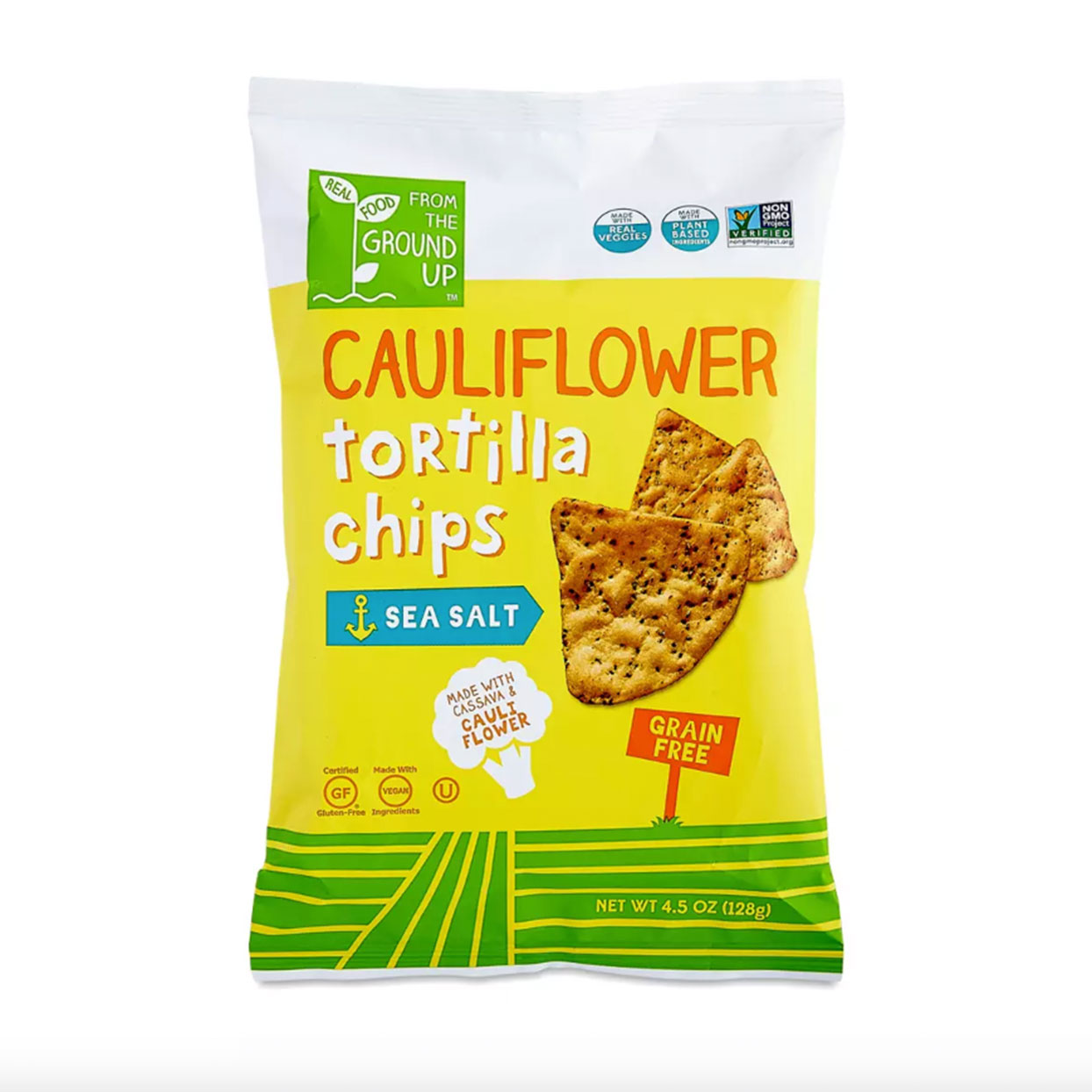 The Lowdown: (10 chips) 130 calories, 6g fat, 135mg sodiumPass on your regular baked tortilla chips and scoop your cancer-fighting, lycopene-packed salsa or omega-3-rich guac—with tortilla chips made from cauliflower. (Related: 3 Guacamole Hacks from Queer Eye's Antoni Porowski)