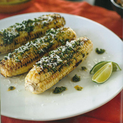 Grilled Corn on the Cob with Pesto