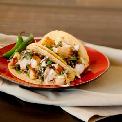 Seared Scallop Tacos with Green Chile Chutney